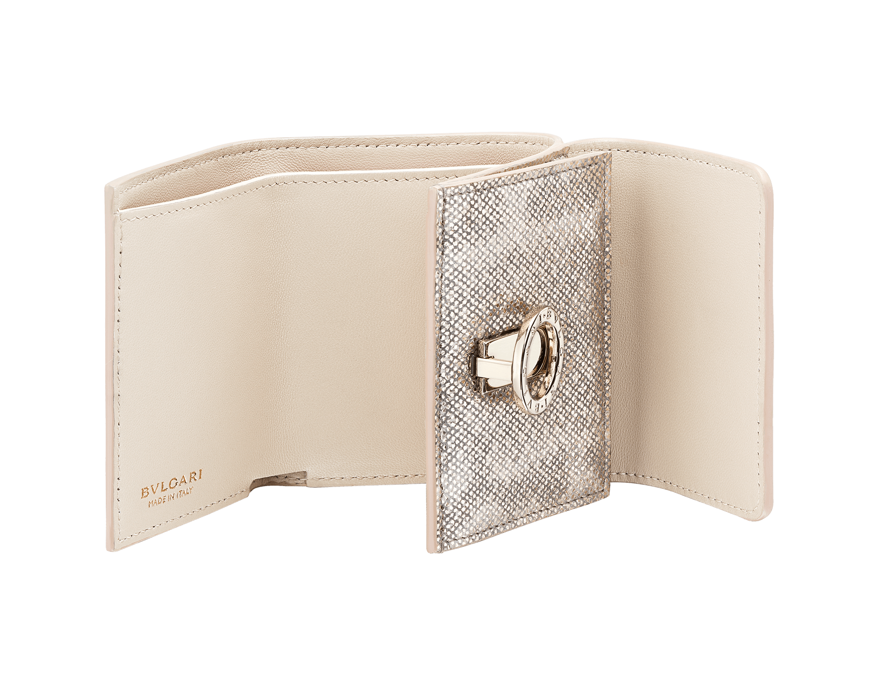 BVLGARI BVLGARI compact wallet in milky opal metallic karung skin and milky opal nappa leather. Iconic logo closure clip in light gold plated brass on the flap and press button closure on the body. 579-MINICOMPACT-K image 2