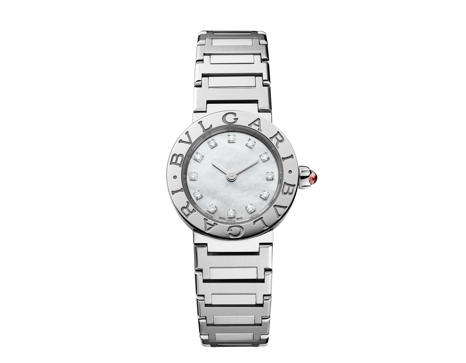 BVLGARI BVLGARI LADY watch in stainless steel case and bracelet, stainless steel bezel engraved with double logo, white mother-of-pearl dial and diamond indexes 103095 image 1