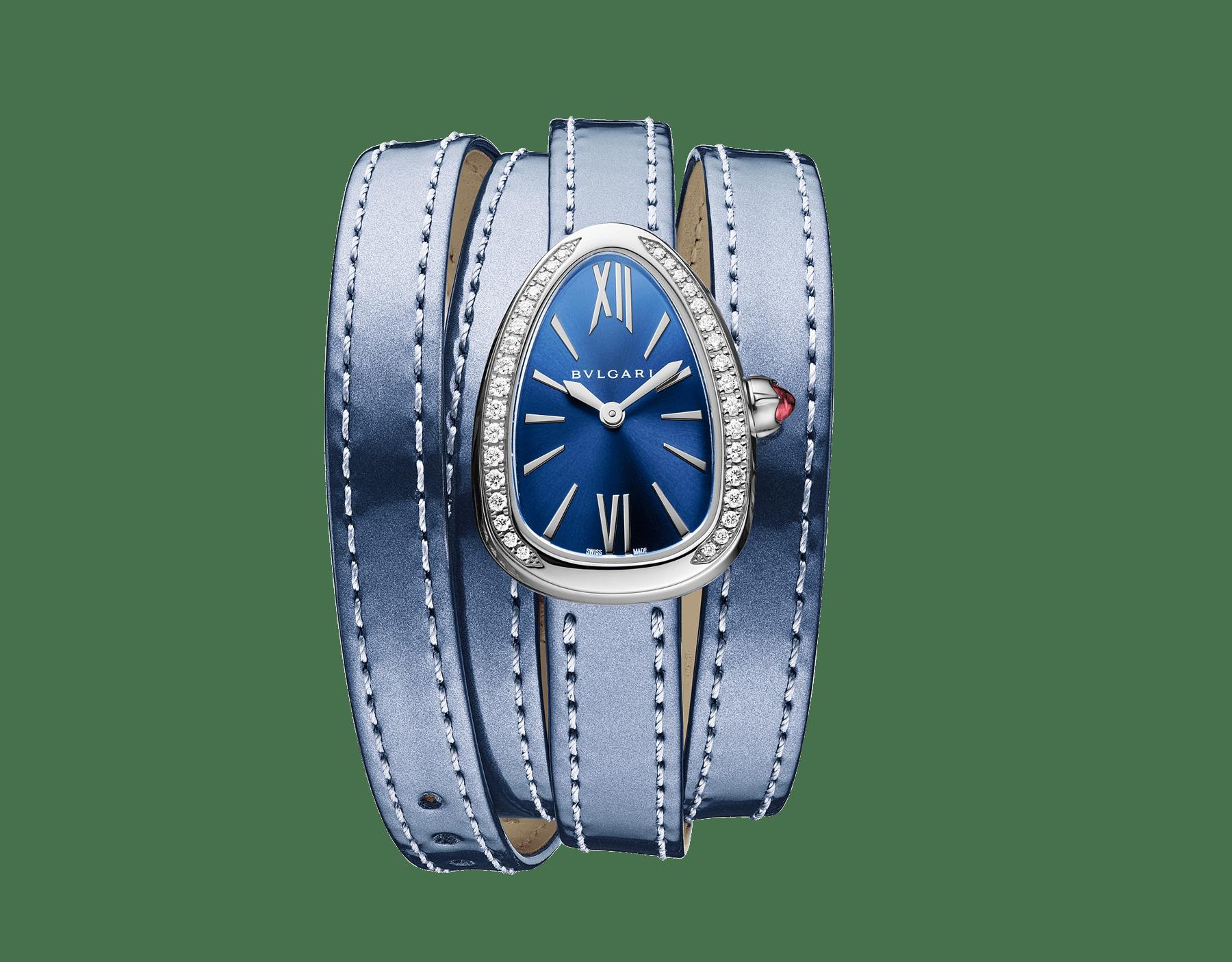 Montre Serpenti avec boîtier en acier inoxydable serti de diamants, cadran laqué bleu et bracelet quadruple spirale interchangeable en cuir de veau aspect métal brossé couleur indigo topaze. 102967 image 1
