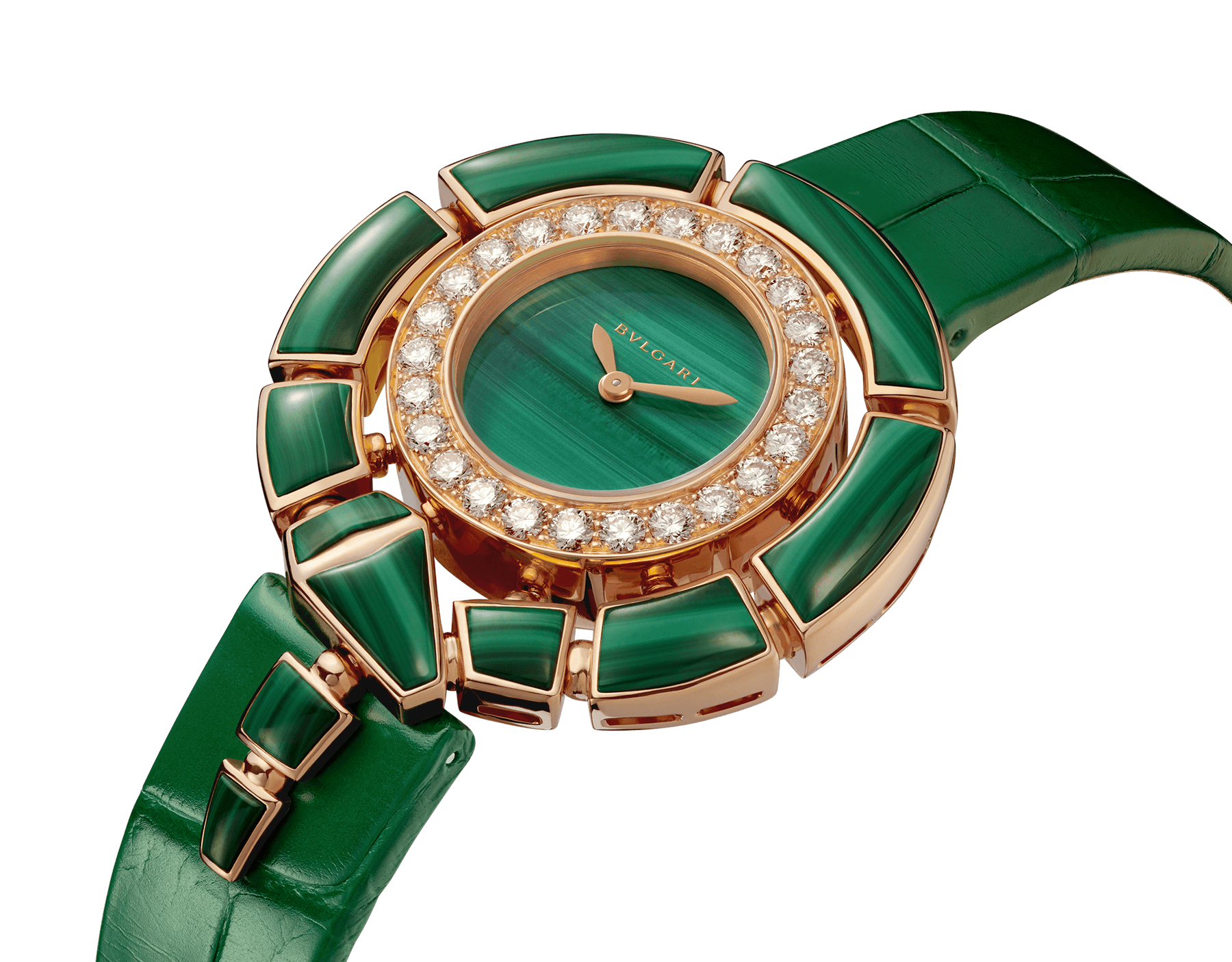 Serpenti Incantati watch with 18 kt rose gold case set with brilliant-cut diamonds and malachite elements, malachite dial and green alligator bracelet 102871 image 2