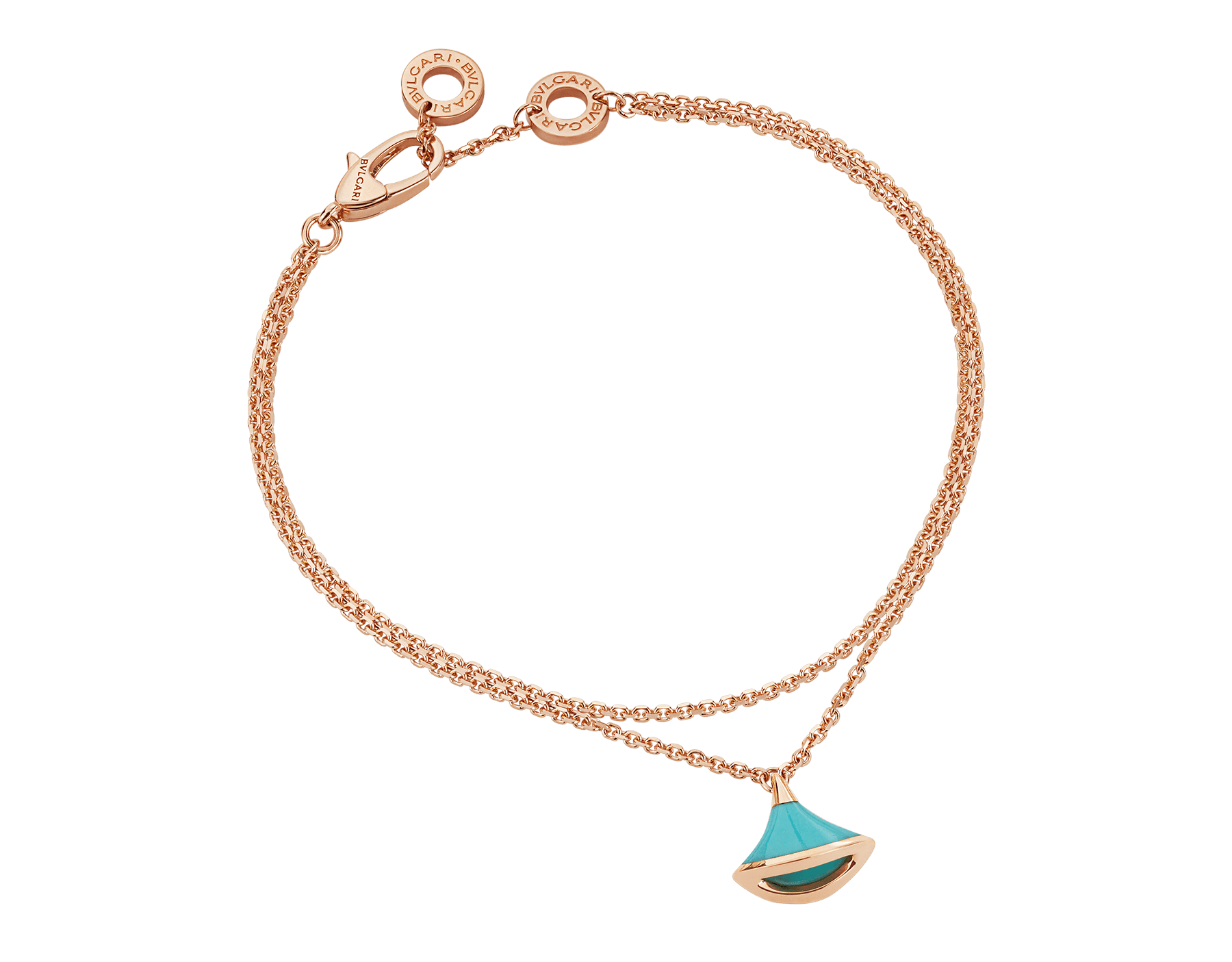 DIVAS' DREAM bracelet in 18 kt rose gold with pendant set with torquoise. BR857195 image 1