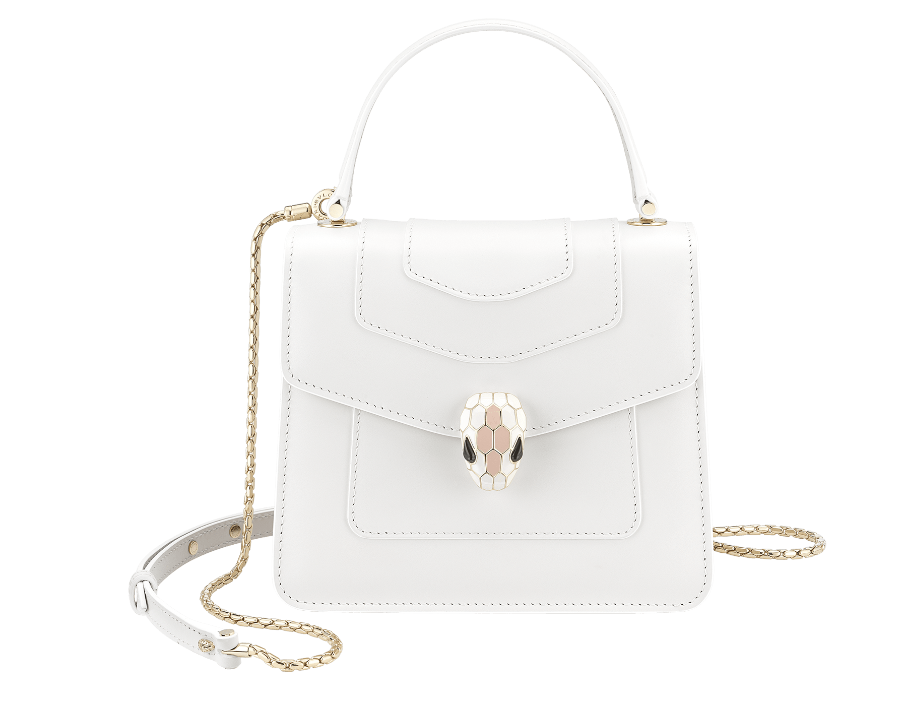 """Serpenti Forever "" crossbody bag in white calf leather body and white agate and crystal rose calf leather sides. Iconic snake head closure in light gold plated brass enriched with white and crystal rose enamel and black onyx eyes. 752-MCLa image 1"