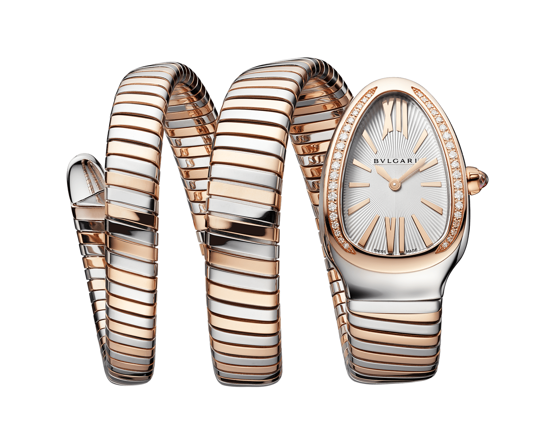 Serpenti Tubogas double spiral watch with stainless steel case, 18 kt rose gold bezel set with diamonds, silver opaline dial with guilloché soleil treatment, stainless steel and 18 kt rose gold bracelet 103149 image 1