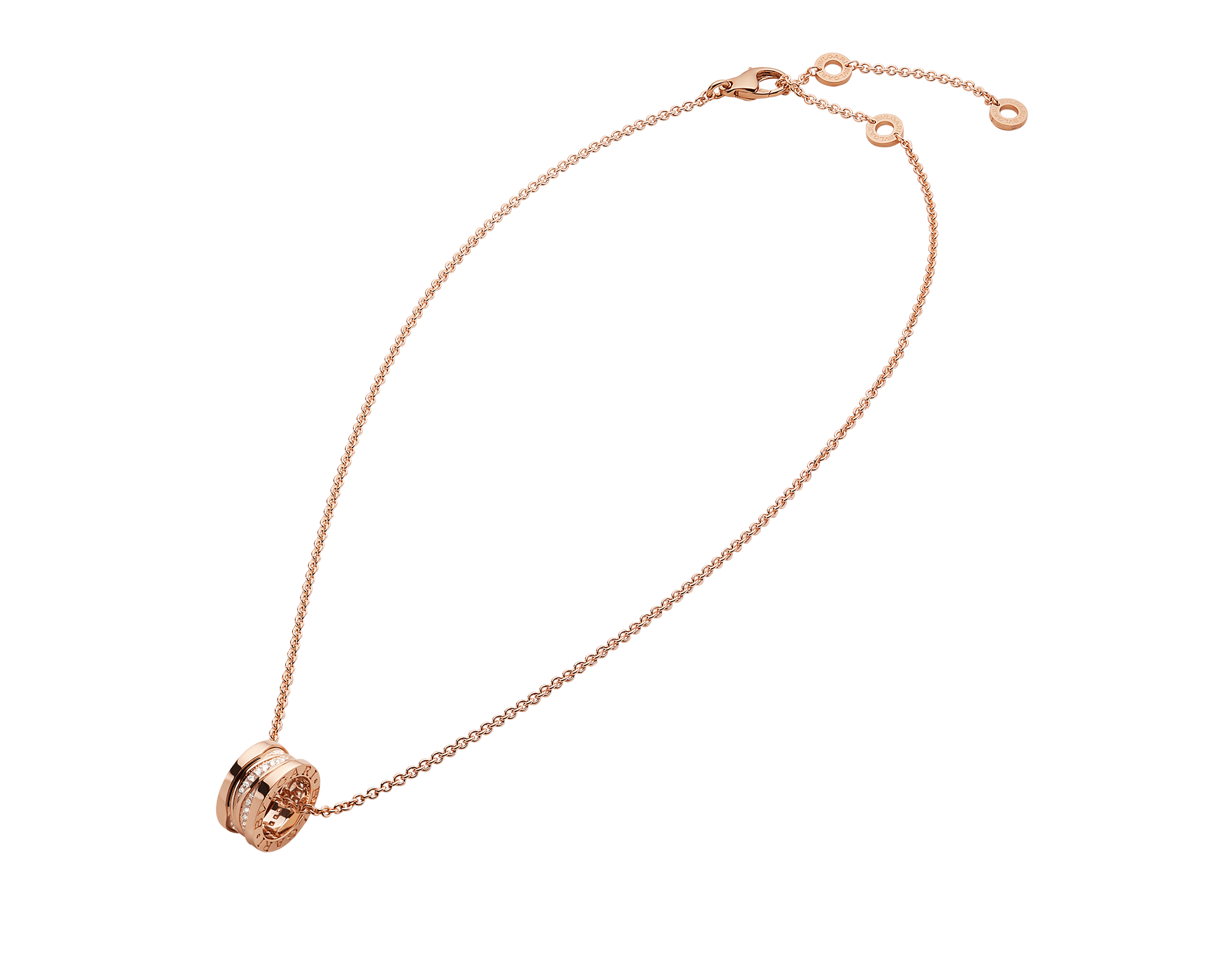 B.zero1 Design Legend necklace with 18 kt rose gold pendant set with pavé diamonds on the spiral and 18 kt rose gold chain. 355060 image 2
