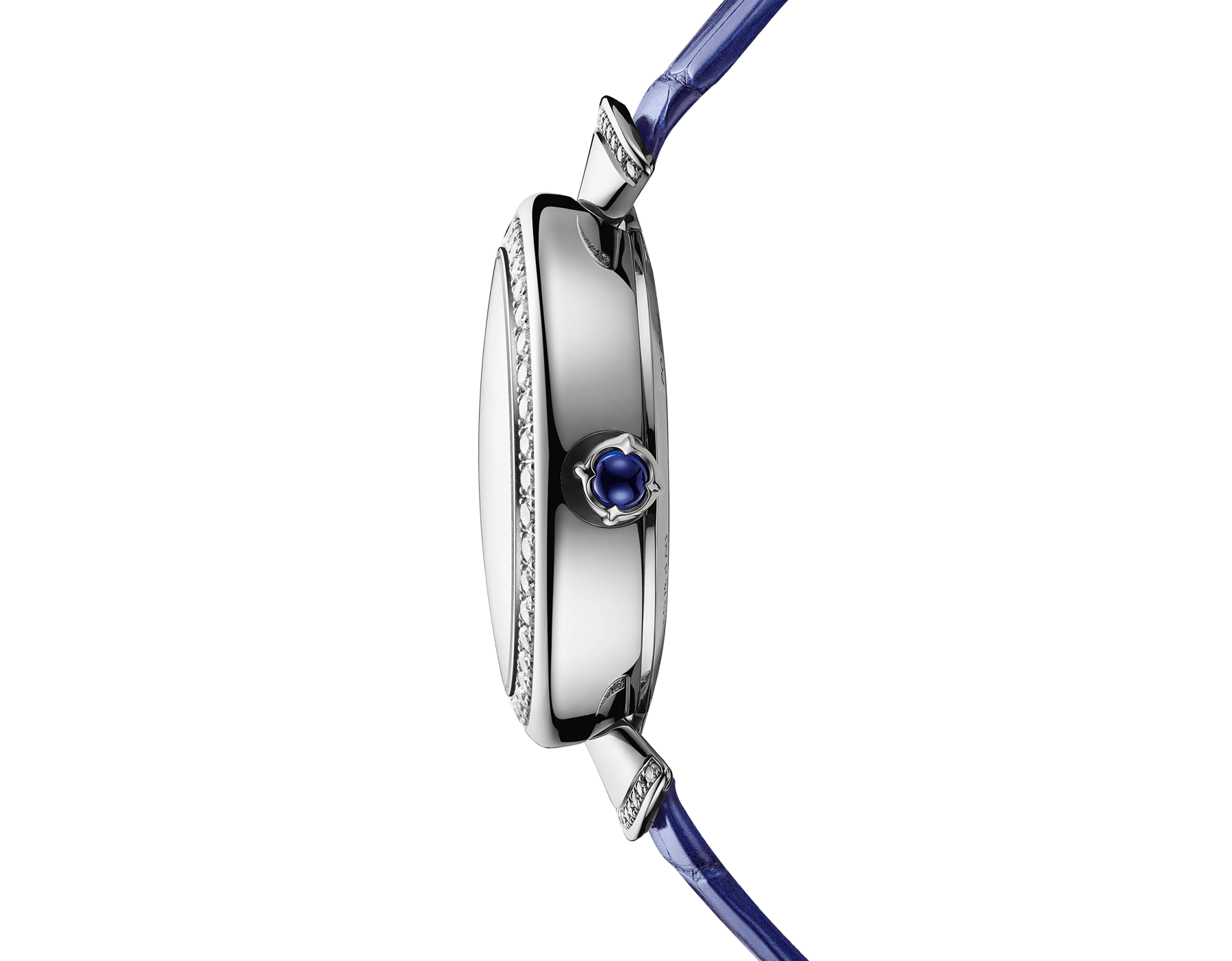 DIVAS' DREAM watch with 18 kt white gold case set with brilliant-cut diamonds, aventurine dial with hand-painted peacock set with diamonds and dark blue alligator bracelet 102740 image 3