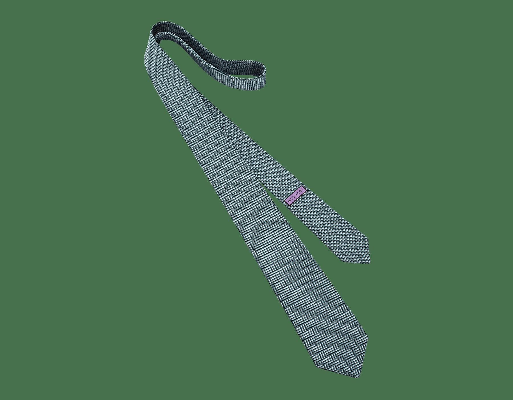 Cravatta turchese candy con motivo Diagono in pregiata seta jacquard. 242317 image 1