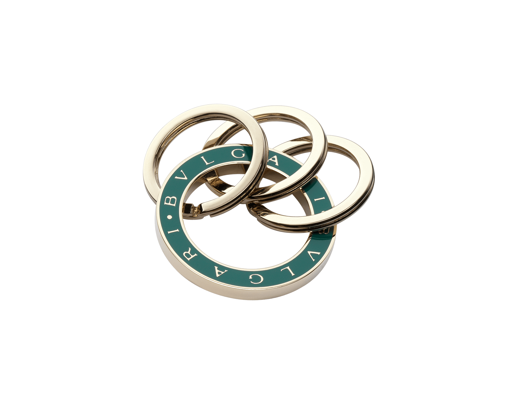 """BVLGARI BVLGARI"" keyring in light gold plated brass enameled in malachite green and enriched with three brisé rings and the iconic logo decoration. 35278 image 1"