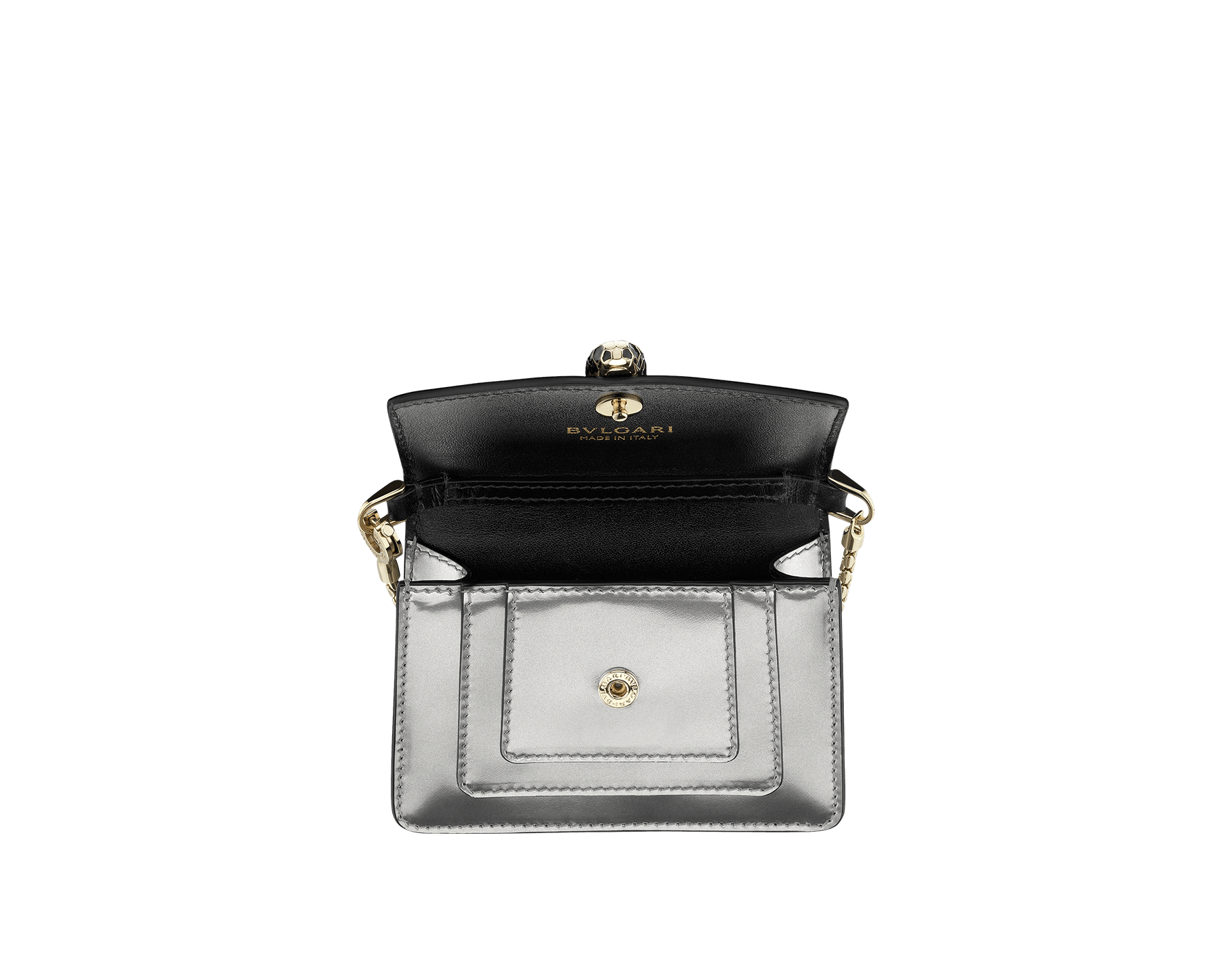 Bag charm Serpenti Forever miniature in royal sapphire brushed metallic calf leather with black calf leather lining. Brass light gold plated Serpenti head stud closure in black and white enamel with green enamel eyes. SERP-BAG-CHARM-BMCL image 1