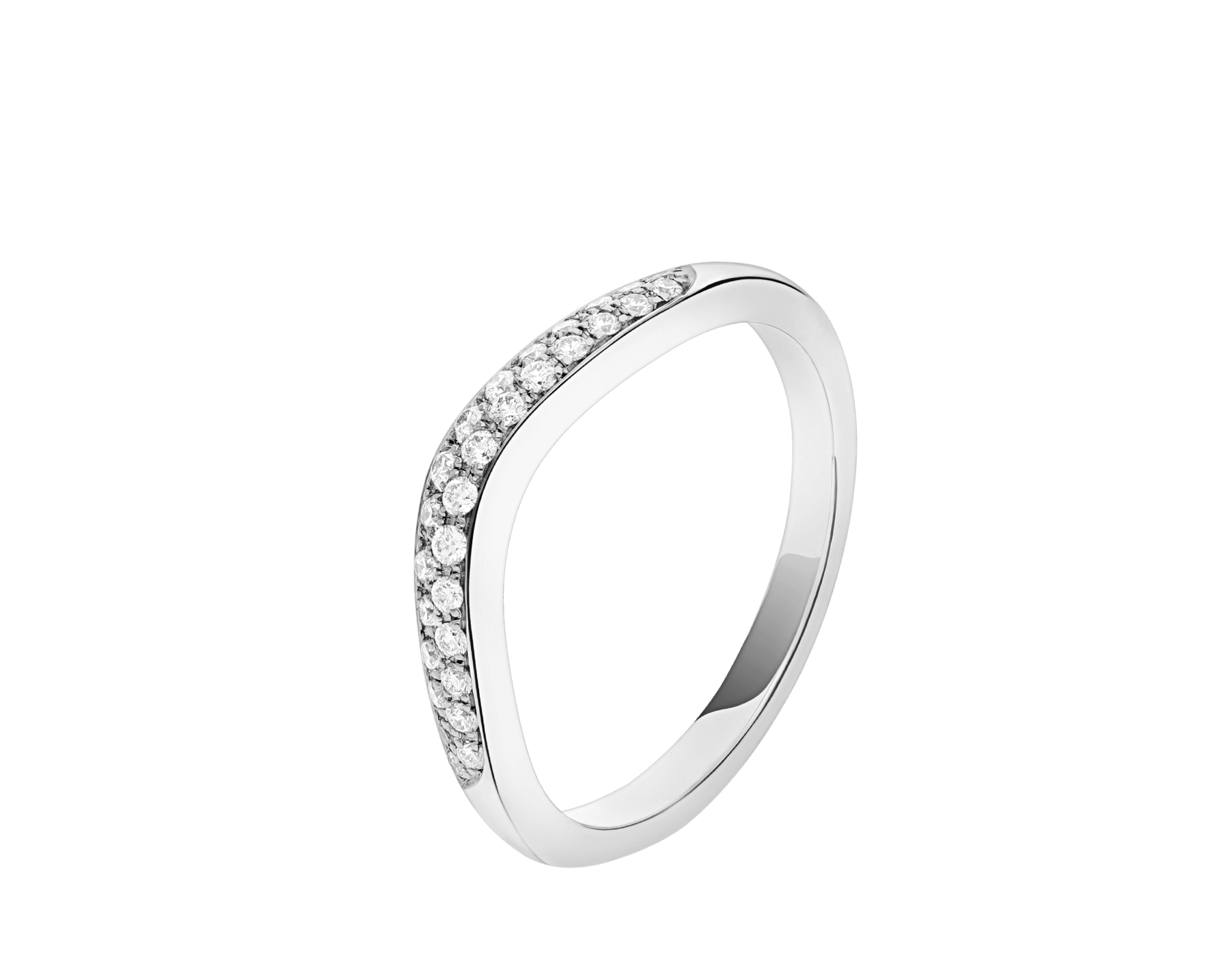 Corona platinum wedding band set with pavé diamonds AN856079 image 1