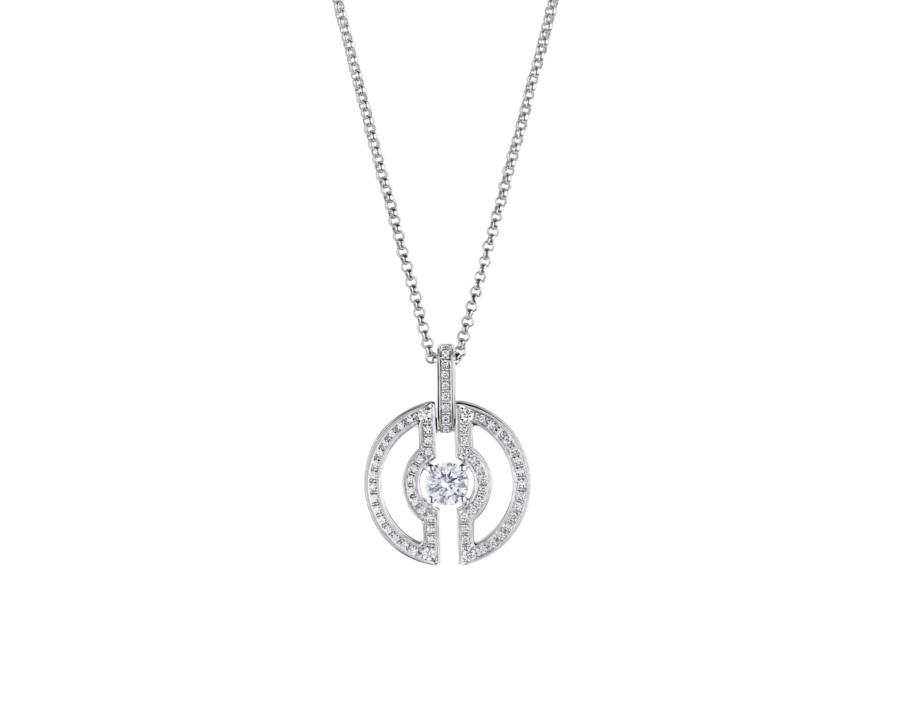 Parentesi necklace with 18 kt white gold chain and pendant, set with a central diamond and pavé diamonds on the edges. 354313 image 2