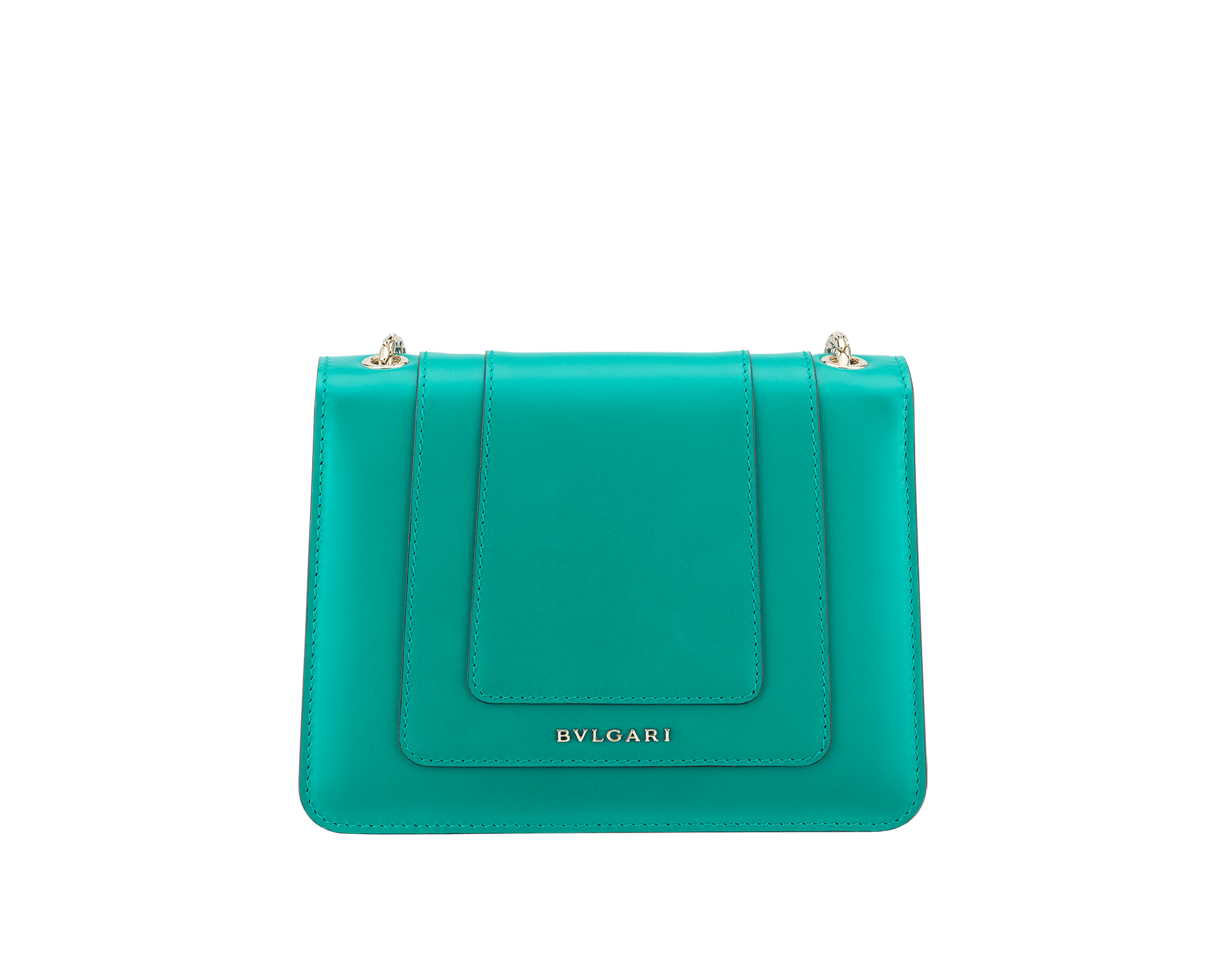 Serpenti Forever crossbody bag in tropical turquoise smooth calf leather body and sea star coral calf leather sides. Snakehead closure in light gold plated brass decorated with tropical turquoise and black enamel, and black onyx eyes. 287958 image 3