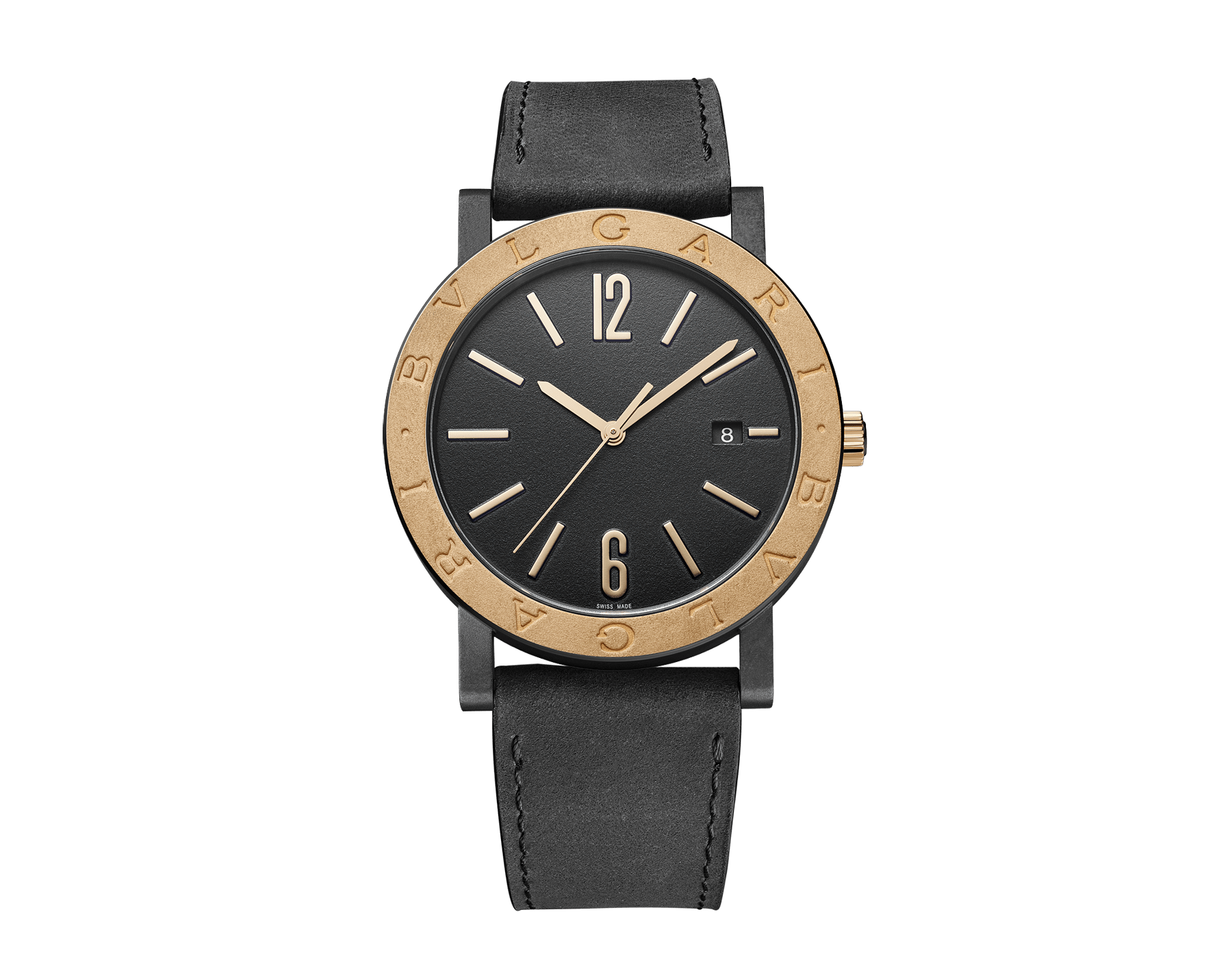 BVLGARI BVLGARI Solotempo watch with mechanical manufacture movement, automatic winding and date, stainless steel case treated with black Diamond Like Carbon, bronze bezel engraved with double logo, black dial, black leather bracelet and interchangeable black rubber bracelet 102931 image 1