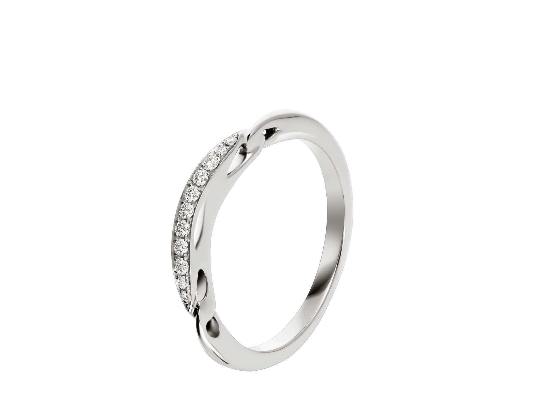 Incontro d'amore wedding band in platinum set with pavé diamonds (0.07 ct). AN858130 image 1