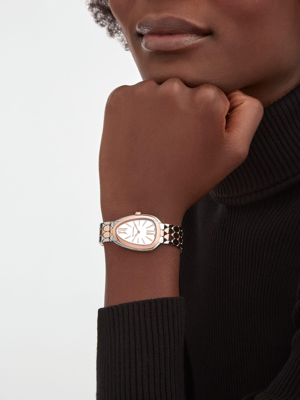 Serpenti Seduttori 腕錶,精鋼和 18K 玫瑰金錶殼及錶帶,銀白色蛋白石錶盤。 103277 image 1