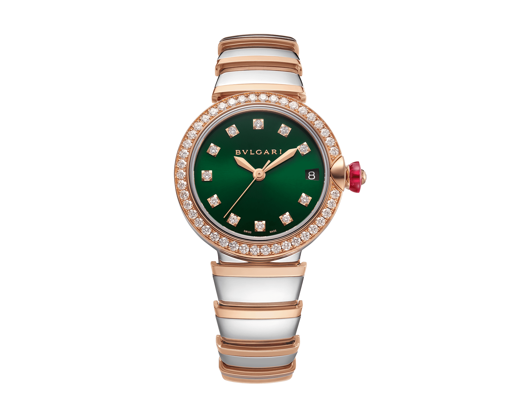 LVCEA watch with stainless steel case, 18 kt rose gold bezel set with brilliant-cut diamonds, green dial, diamond indexes, date opening, stainless steel and 18 kt rose gold bracelet. Exclusive Edition for Middle East 103289 image 1