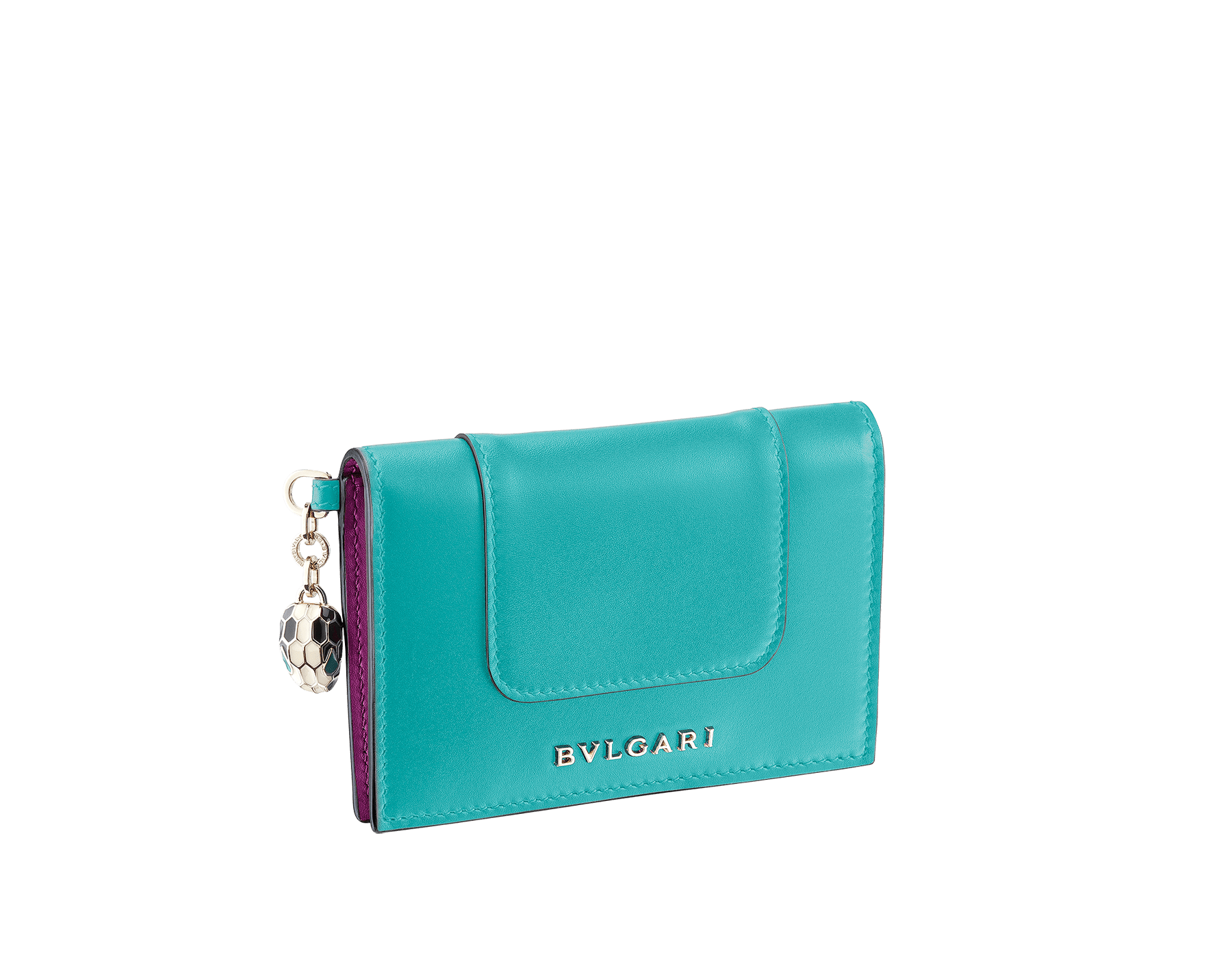 """Serpenti Forever"" folded card holder in mint and taffy quartz calf leather. Iconic snakehead charm in black and white enamel with emerald green enamel eyes. SEA-CC-HOLDER-FOLD-CLa image 1"