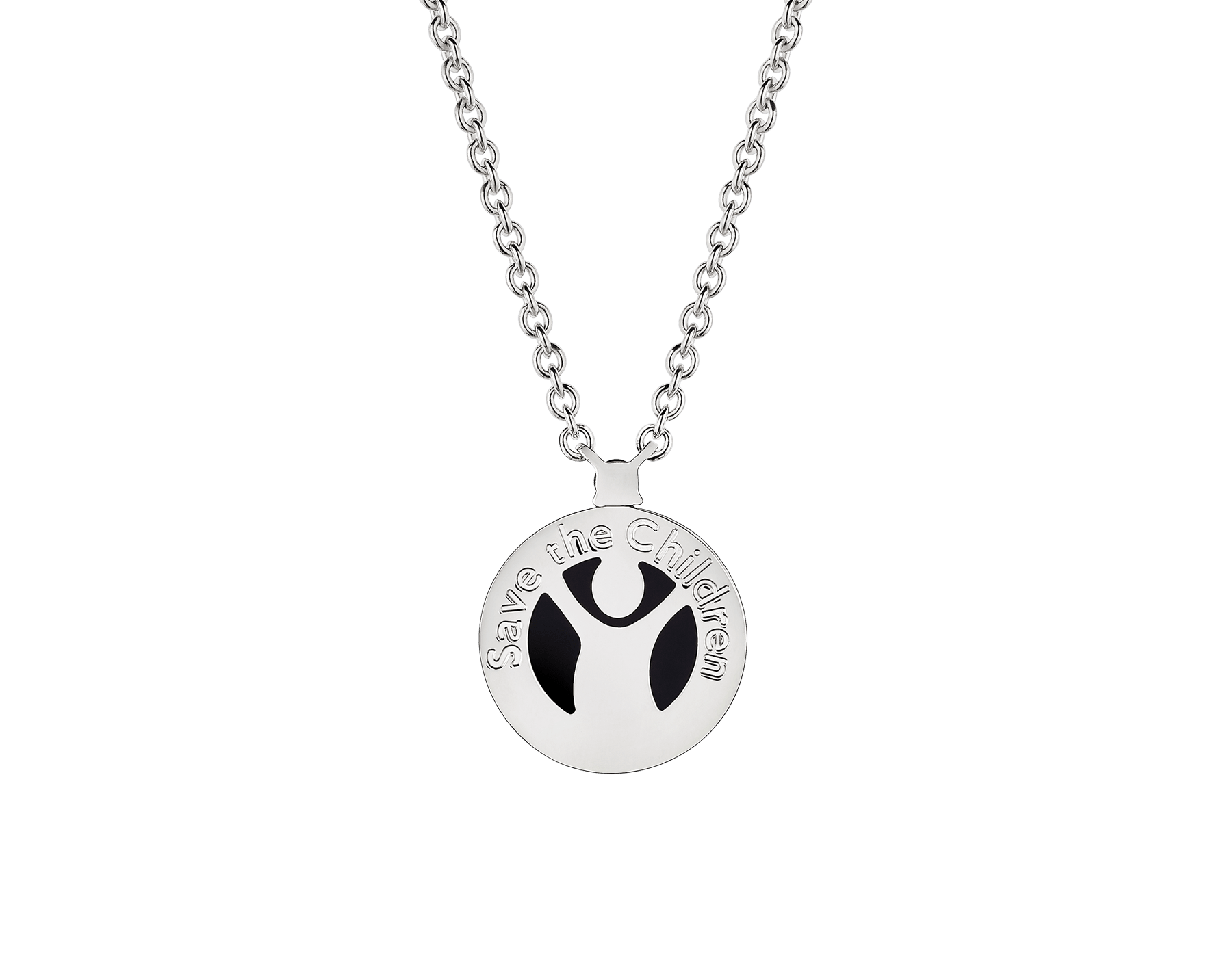 Save the Children 10th Anniversary necklace in sterling silver with pendant set with onyx element and a ruby 356910 image 2