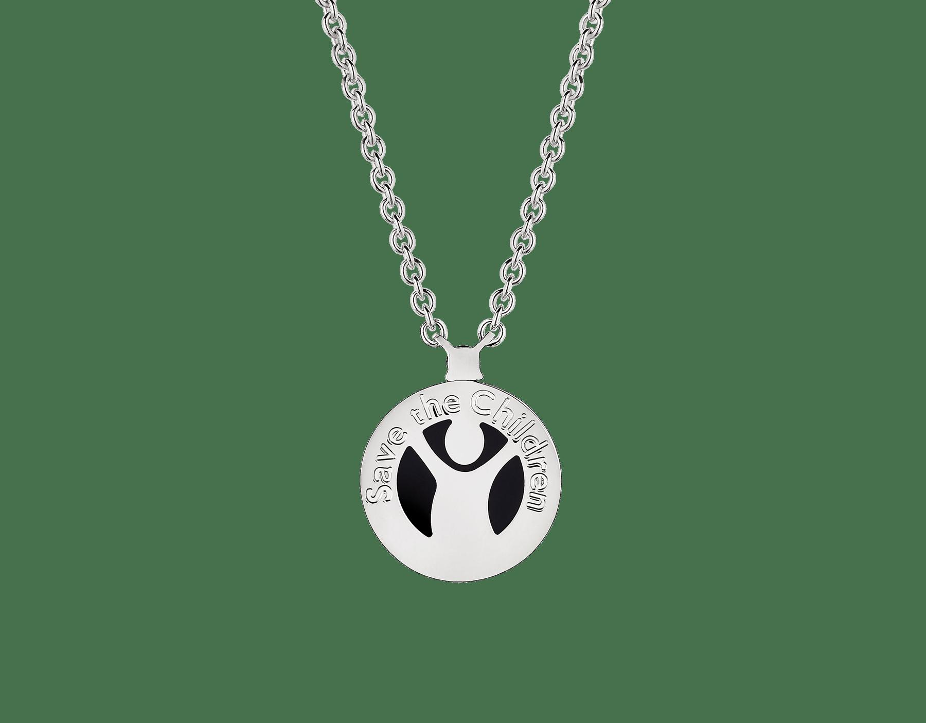Collier Save the Children 10eAnniversaire en argent massif avec pendentif serti d'un élément en onyx et d'un rubis 356910 image 2