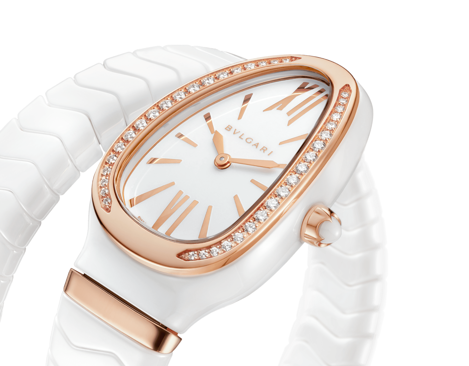 Serpenti Spiga single spiral watch with white ceramic case, 18 kt rose gold bezel set with brilliant cut diamonds, white lacquered dial, white ceramic bracelet with 18 kt rose gold elements. 102613 image 3