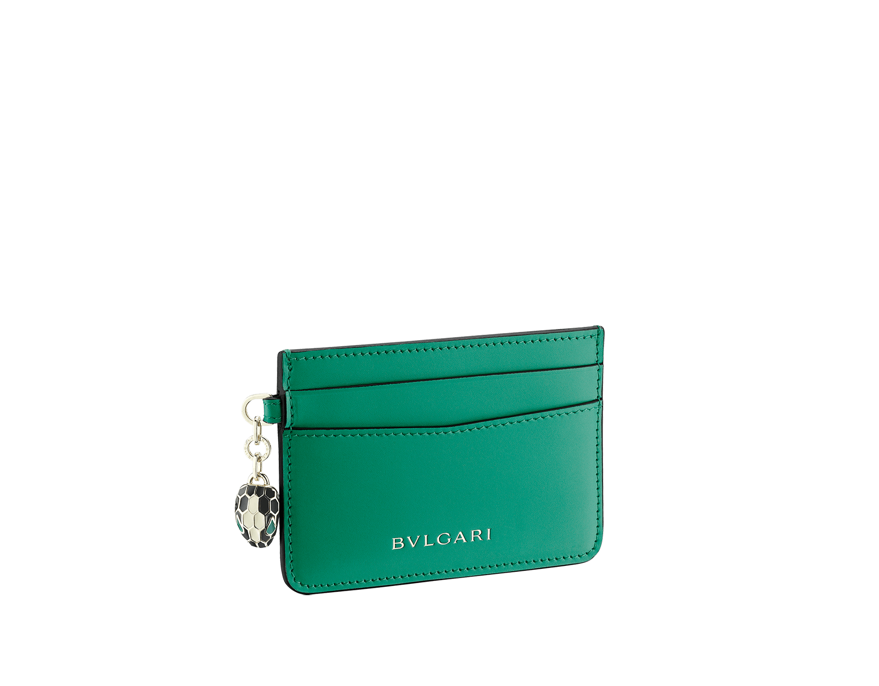 Serpenti Forever card holder in emerald green calf leather. Iconic snakehead charm in black and white agate enamel, with green emerald enamel eyes. 282019 image 1