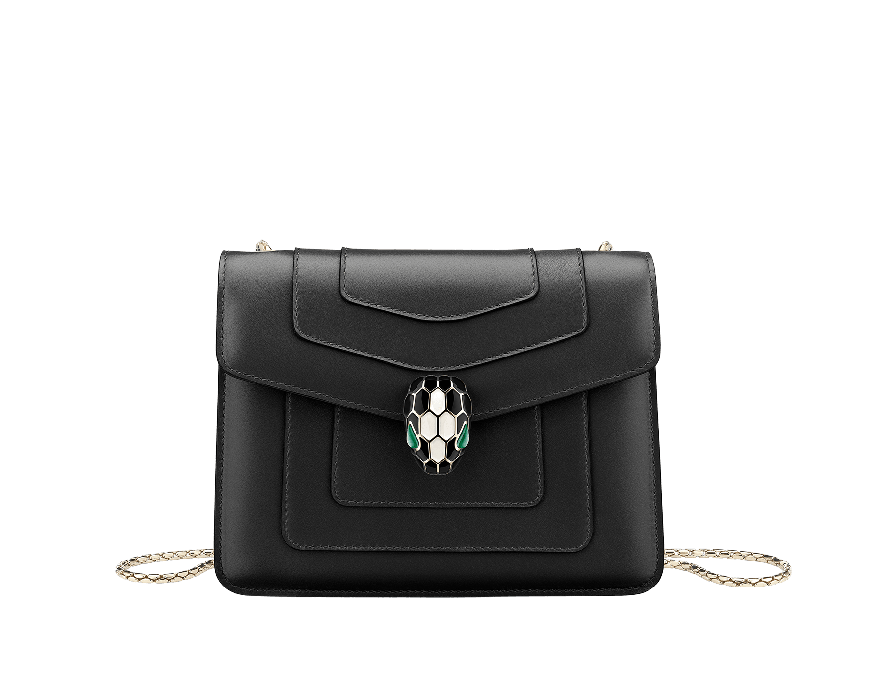 """Serpenti Forever"" crossbody bag in emerald green calf leather with amethyst purple gros grain internal lining. Iconic snakehead closure in light gold plated brass enriched with black and white agate enamel, and green malachite eyes. 422-CLa image 1"