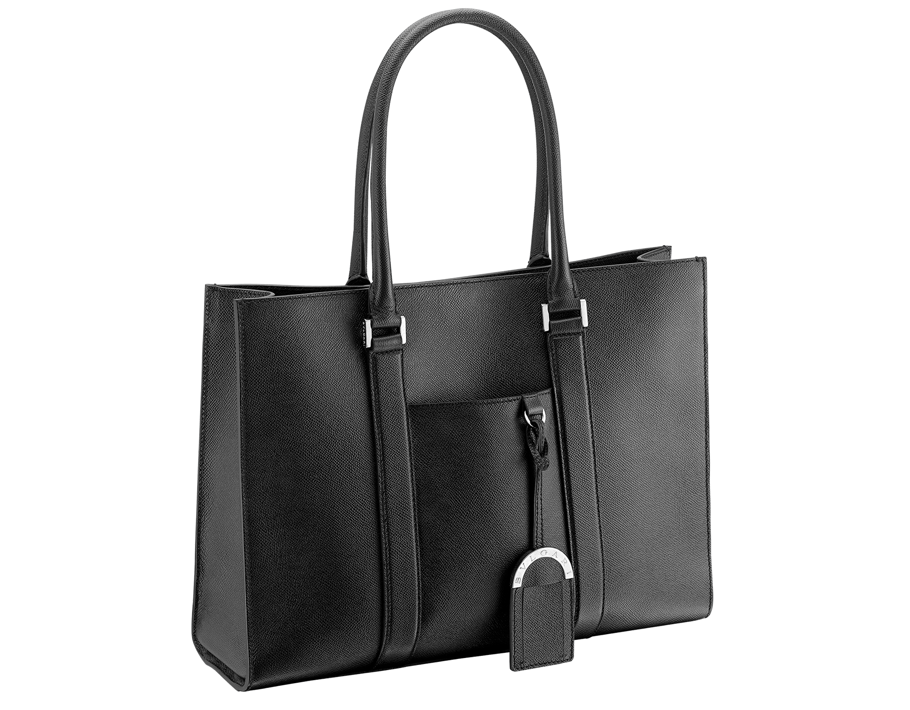 Tote bag in black grain calf leather with brass palladium plated hardware. One zipped pocket, three open pockets and Bulgari logo metal tag inside. Iconic detachable label tag. Also available in other colours. 37625 image 1
