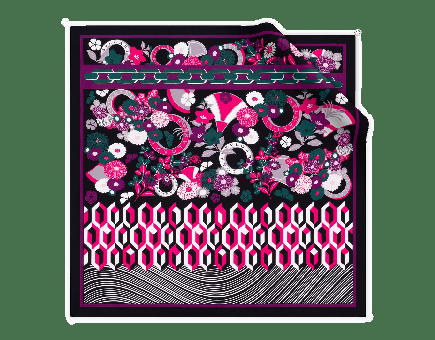 Платок Flower Patch черного цвета, тонкая шелковая саржа. 243938 image 1