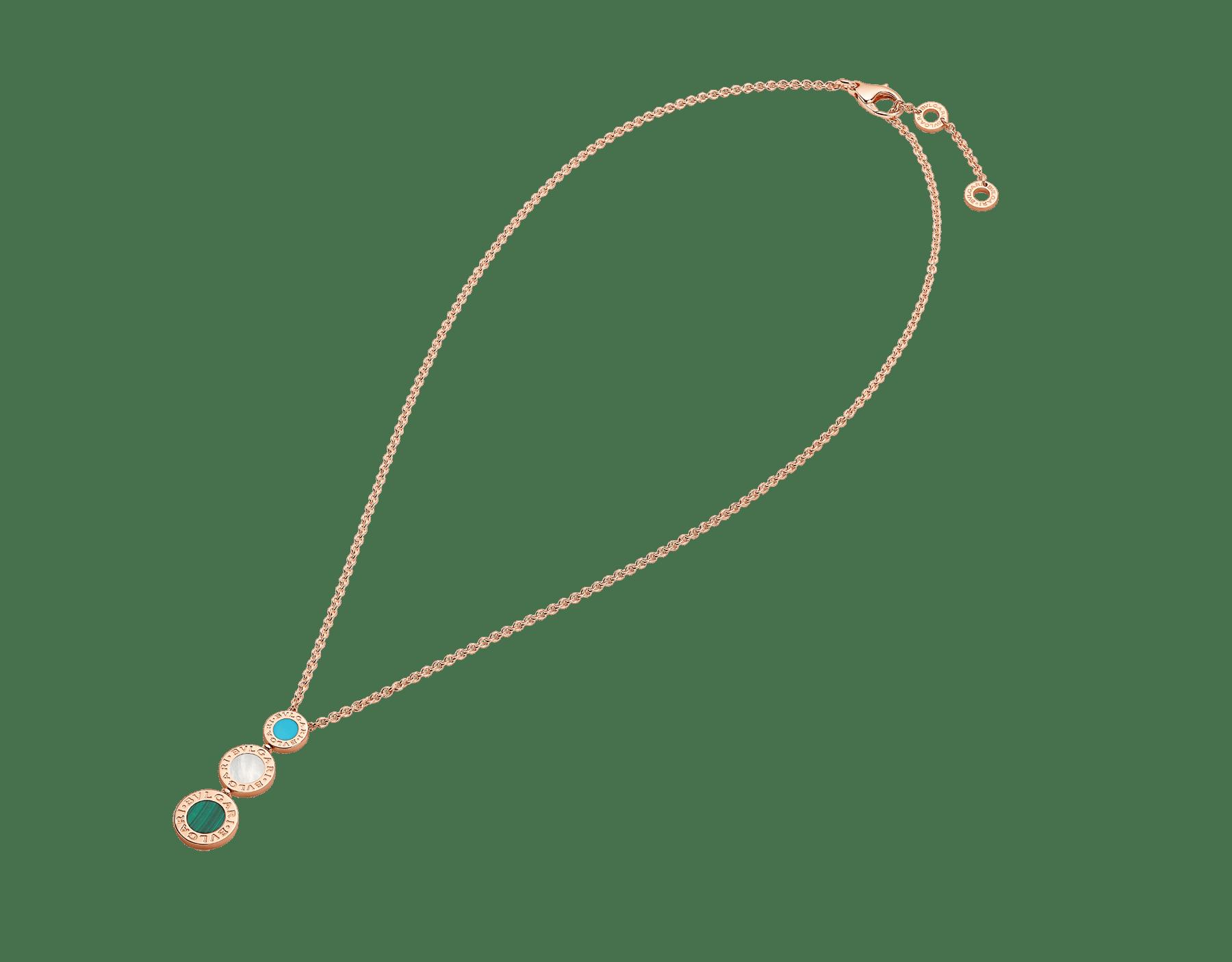 Colar BVLGARIBVLGARI em ouro rosa 18K cravejado com elementos de malaquita e madrepérola 356933 image 2