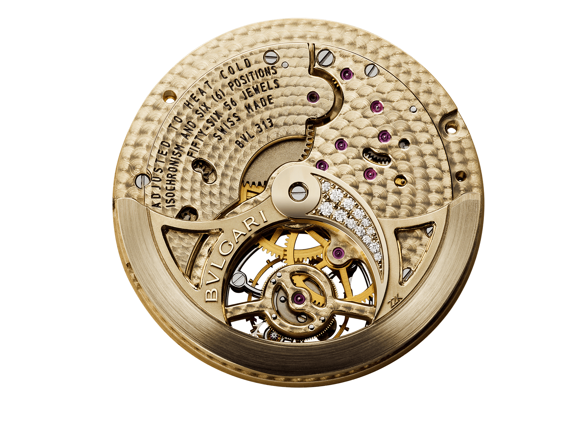 Berries Tourbillon watch with mechanical manufacture movement, automatic winding and see-through tourbillon. 18 kt rose gold case set with brilliant-cut diamonds, emeralds, mandarine garnets, tourmaline, sapphire and tsavorite, aventurine dial, diamond indexes and blue alligator bracelet 102556 image 2