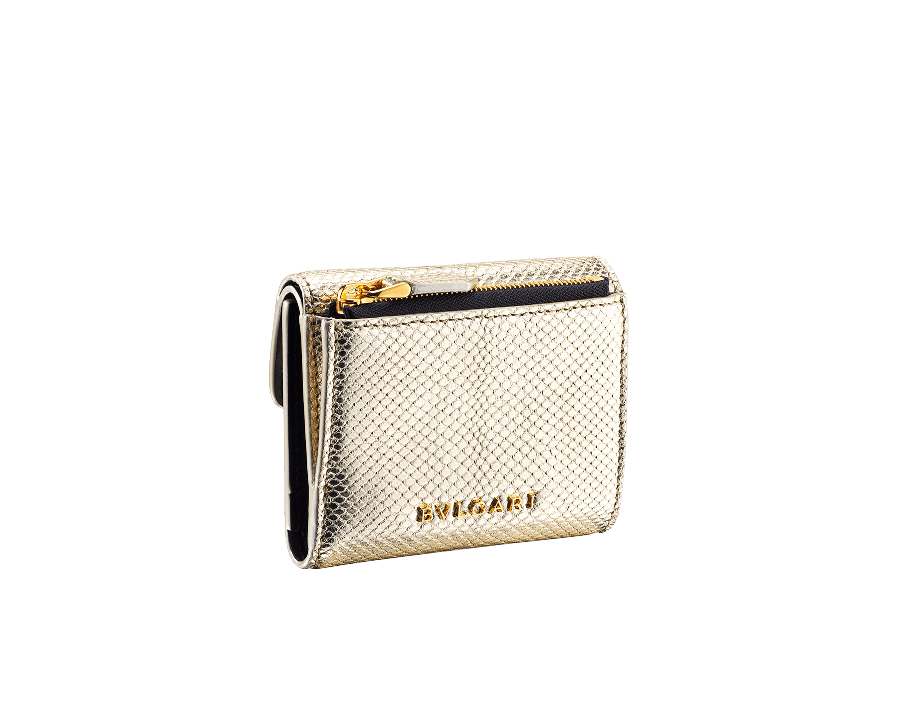 """Slender, compact """"Serpenti Forever"""" wallet in """"Molten"""" gold karung skin and black calfskin, offering a touch of radiance for the Winter Holidays. New Serpenti head closure in gold-plated brass, complete with ruby-red enamel eyes. SEA-SLIMCOMPACT-MoltK image 3"""