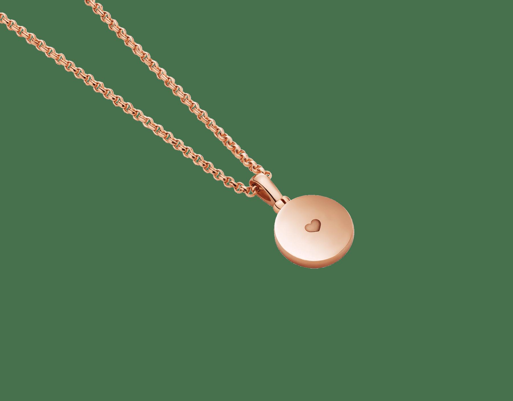 Collar con colgante BVLGARI BVLGARI en oro rosa de 18qt con inserción de madreperla y personalizable con grabado en el reverso 358376 image 4