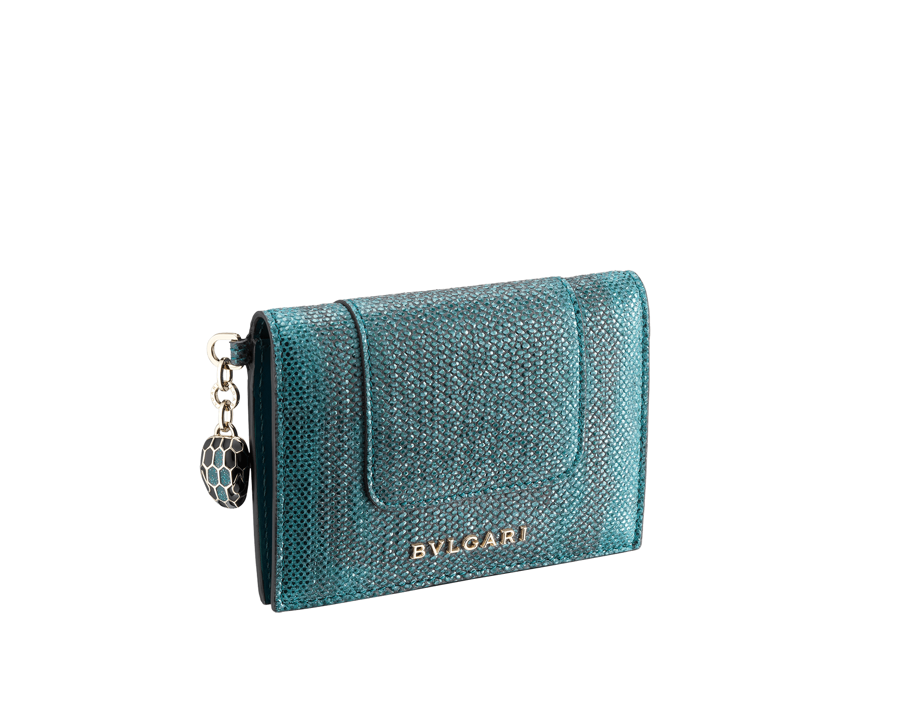 Serpenti Forever folded credit card holder in ruby red metallic karung skin. Iconic snakehead charm in black and glitter silver enamel, with black enamel eyes SEA-CC-HOLDER-FOLD-MKb image 1