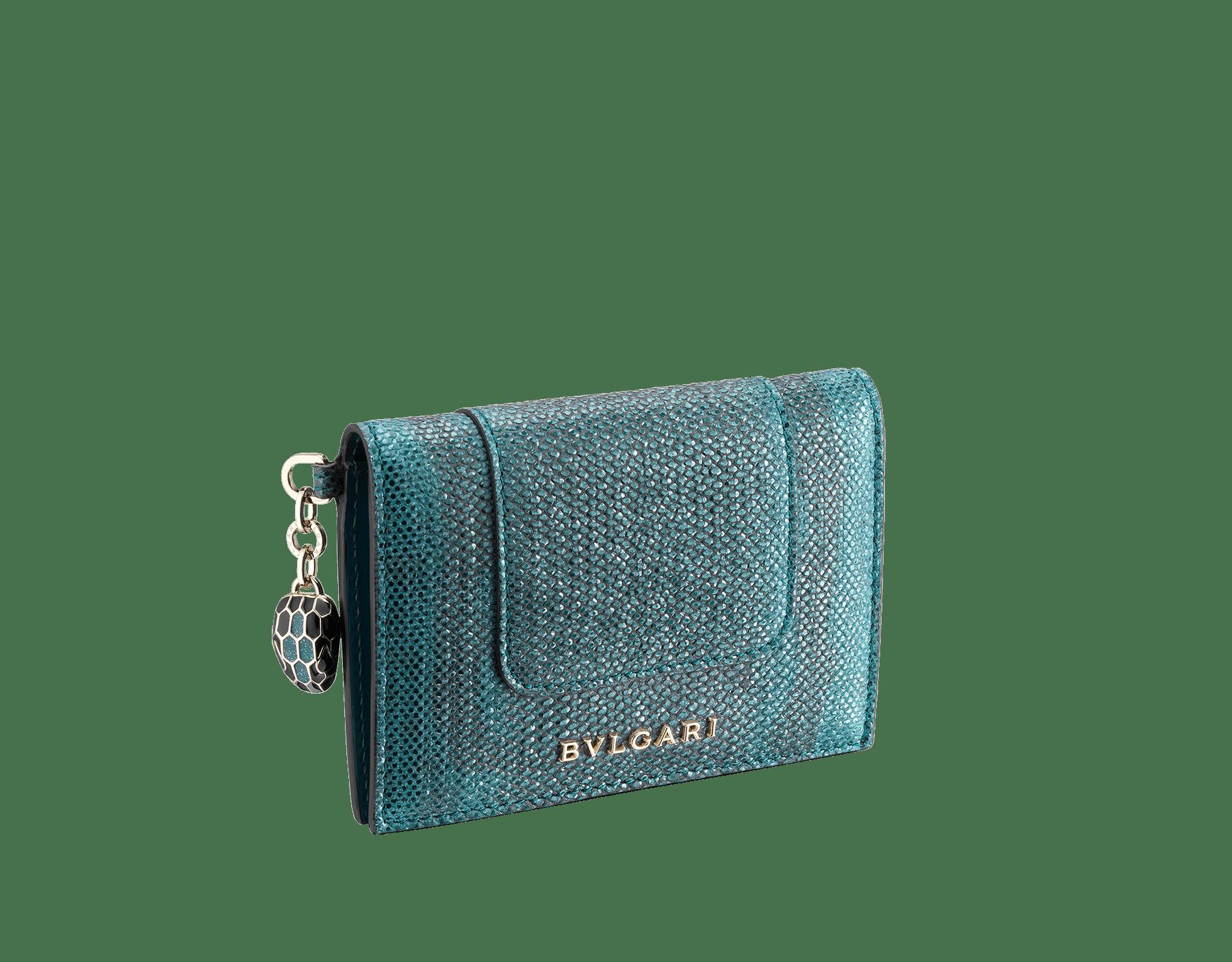 Serpenti Forever folded credit card holder in deep jade metallic karung skin. Iconic snakehead charm in black and glitter deep jade enamel, with black enamel eyes. 288073 image 1