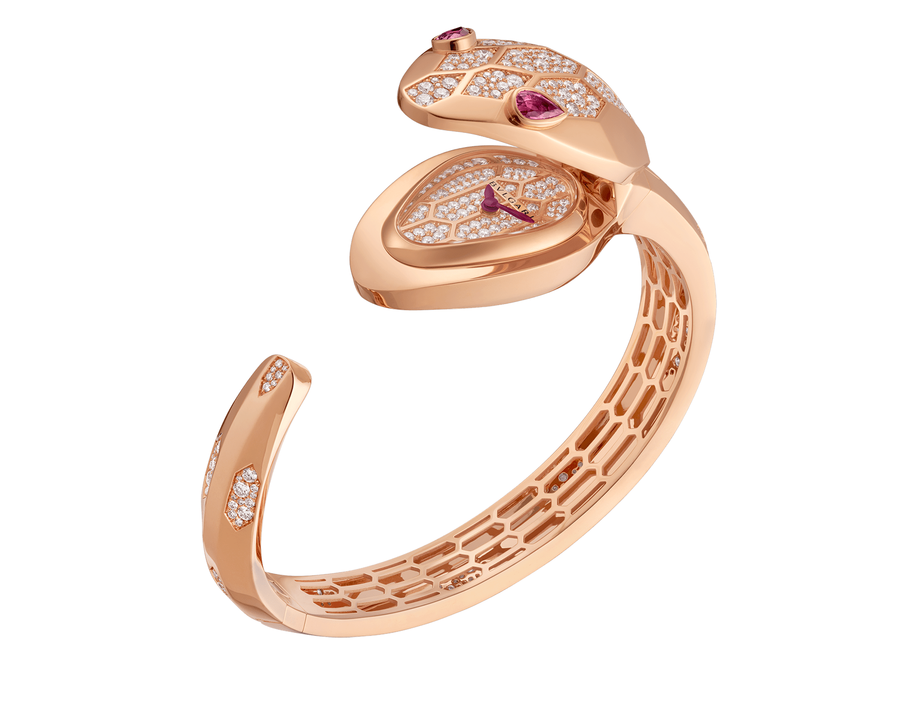Serpenti Misteriosi Secret Watch in 18 kt rose gold case and bangle bracelet both set with round brilliant-cut diamonds, 18 kt rose gold diamond pavé dial and pear-shaped rubellite eyes. SrpntMister-SecretWtc-rose-gold2 image 8