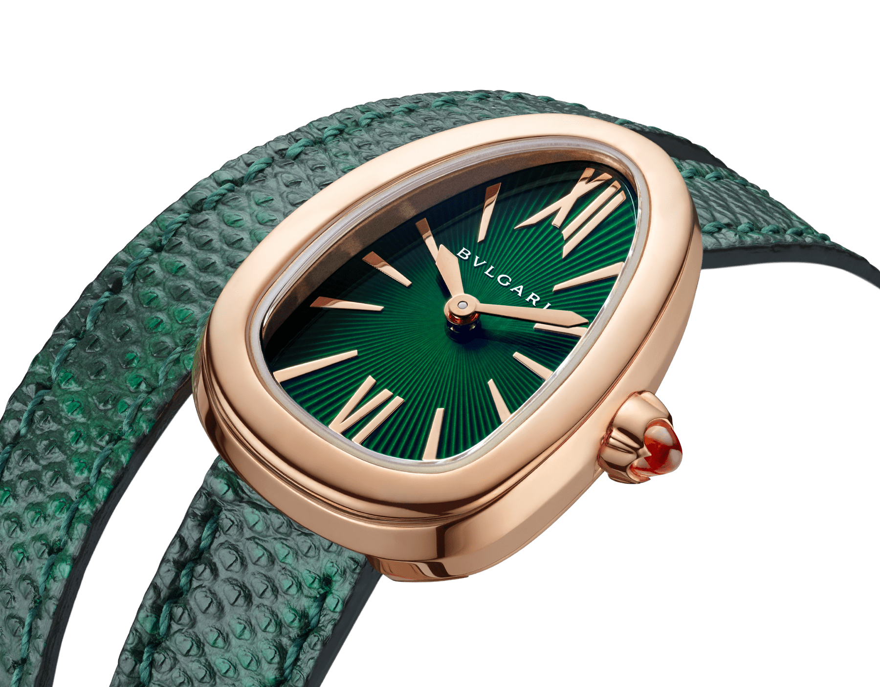 Serpenti watch with 18 kt rose gold case, green lacquered dial and interchangeable double spiral bracelet in green karung leather. 102726 image 3