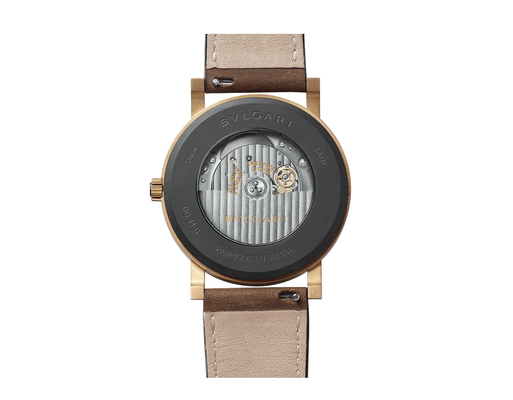 BVLGARI BVLGARI Solotempo watch with mechanical manufacture movement, automatic winding and date, bronze case, bronze bezel engraved with double logo, black dial and brown leather bracelet 102977 image 3