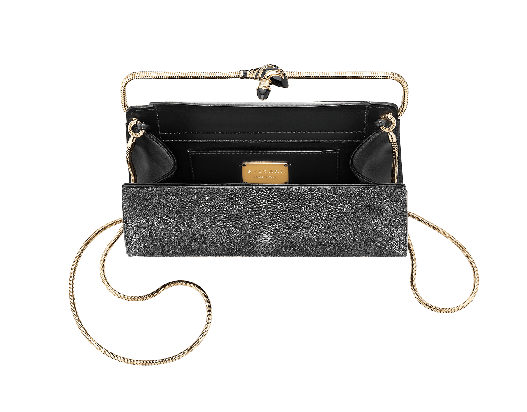 Serpenti Tubogas clutch in black galuchat skin and calf leather. Brass light rose gold plated snake body-shaped frame closure with black enamel. 526-001-0671S image 4