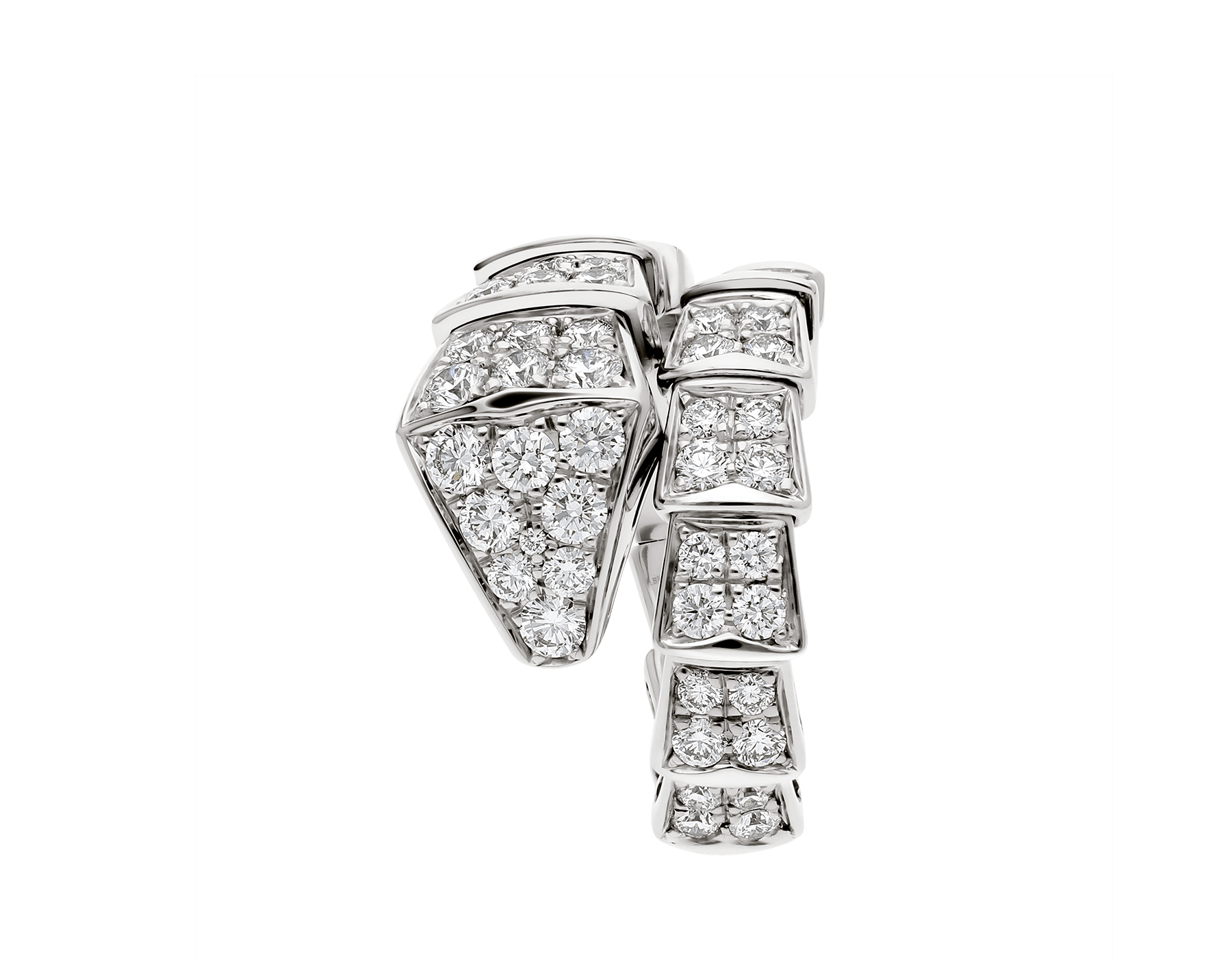 Serpenti Viper one-coil ring in 18 kt white gold, set with full pavé diamonds. AN855116 image 4