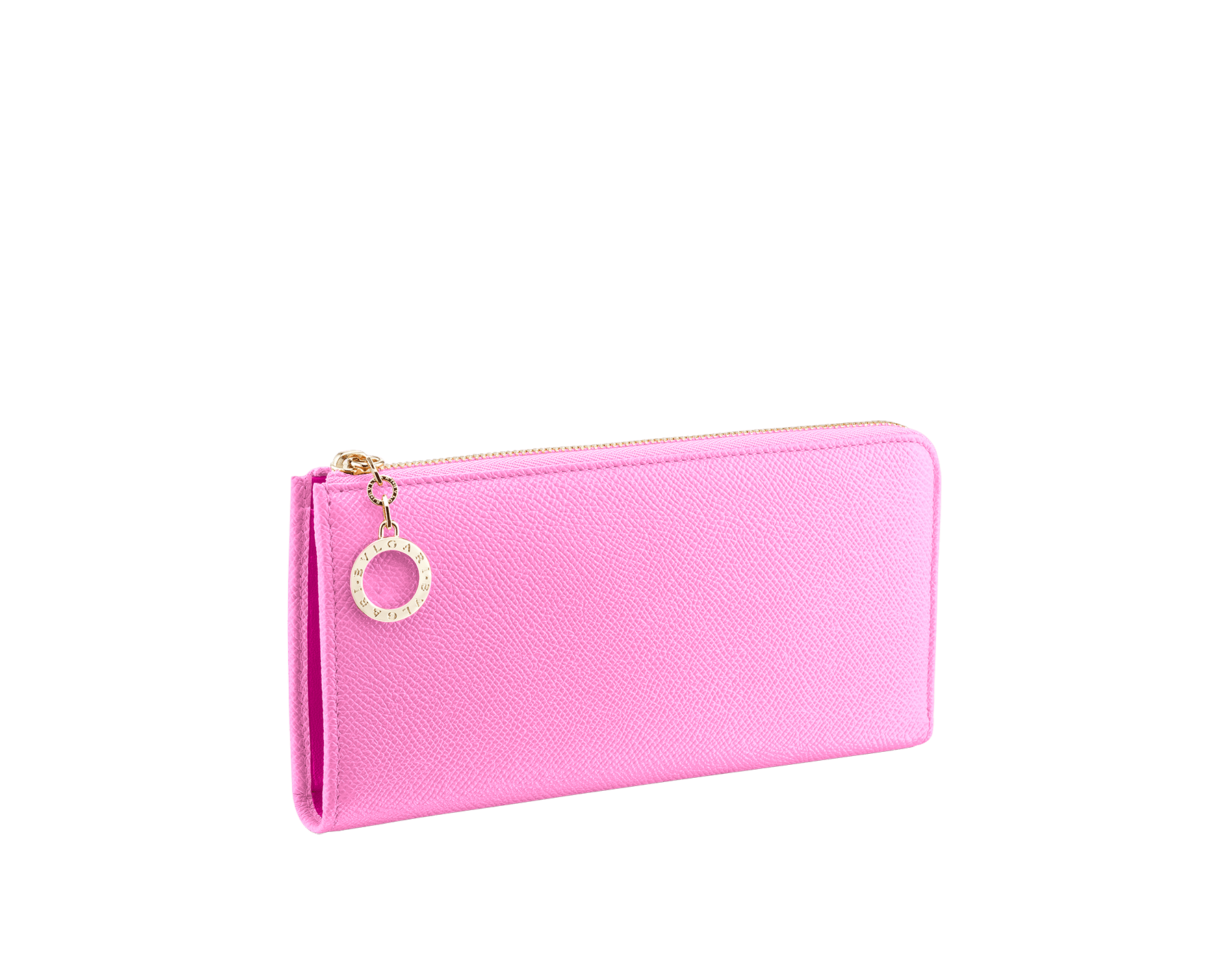 """BVLGARI BVLGARI"" large L-shaped zipped wallet in taffy quartz bright grain calf leather and berry tourmaline nappa leather. Iconic logo zip puller in light gold plated brass. 579-WLT-MZP-SLIM-La image 1"