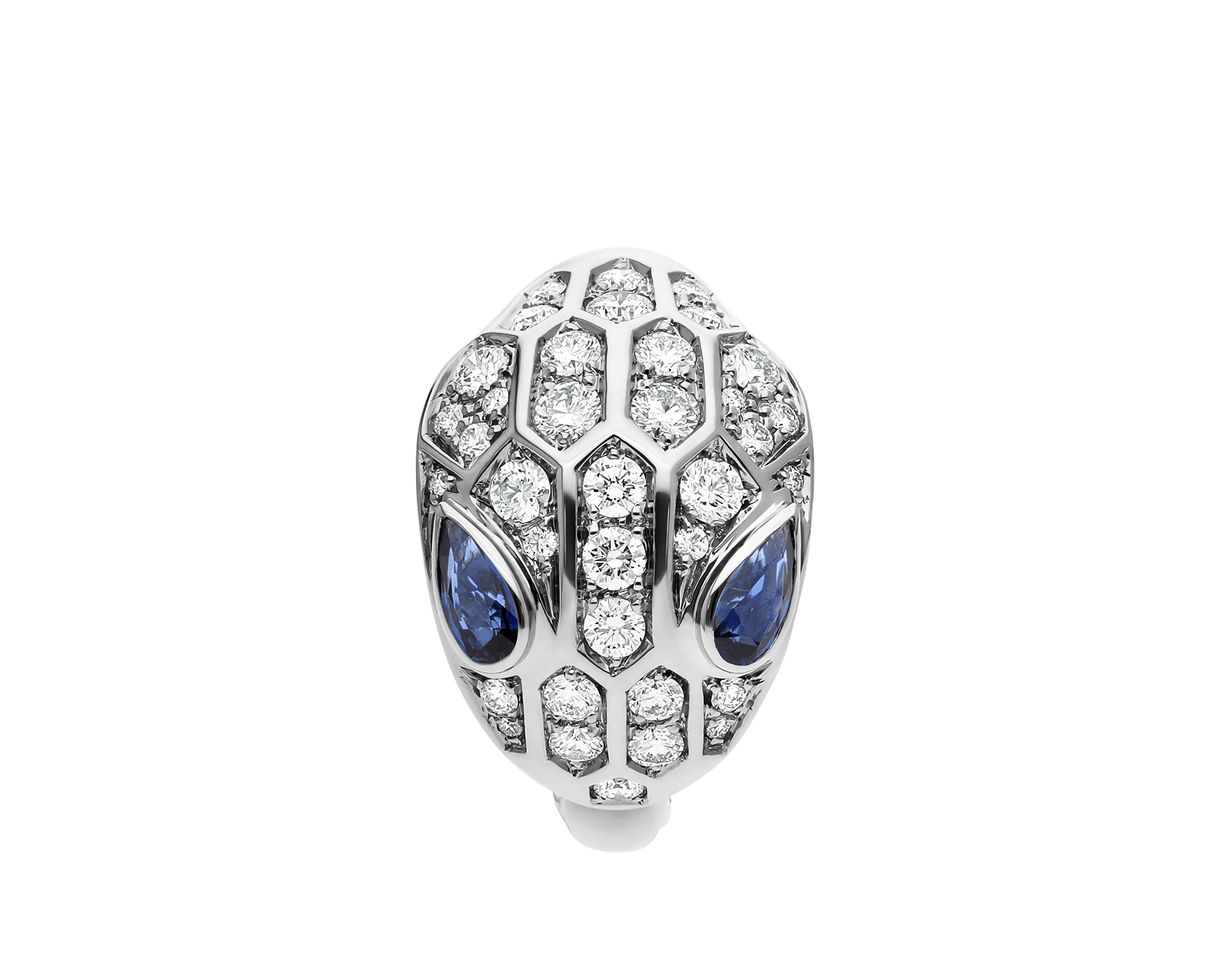 Serpenti ring in 18 kt white gold set with blue sapphire eyes (0.43 ct) and pavé diamonds (0.76 ct). AN857879 image 2