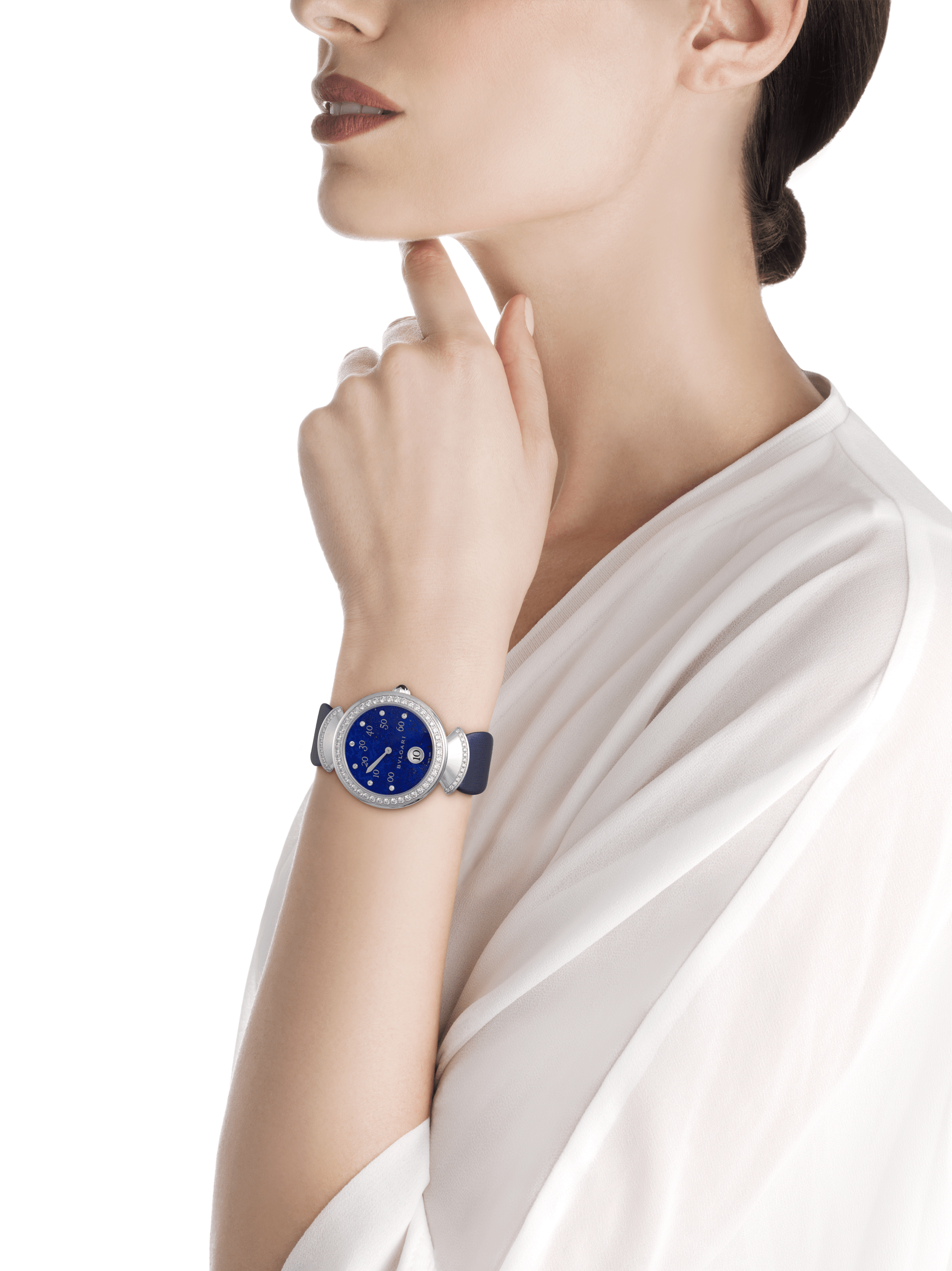 DIVAS' DREAM watch with mechanical manufacture movement, jumping hours, retrograde minutes (180°) and automatic winding. 18 kt white gold case set with brilliant-cut diamonds, lapis lazuli dial, diamond indexes and blue satin bracelet 102544 image 2