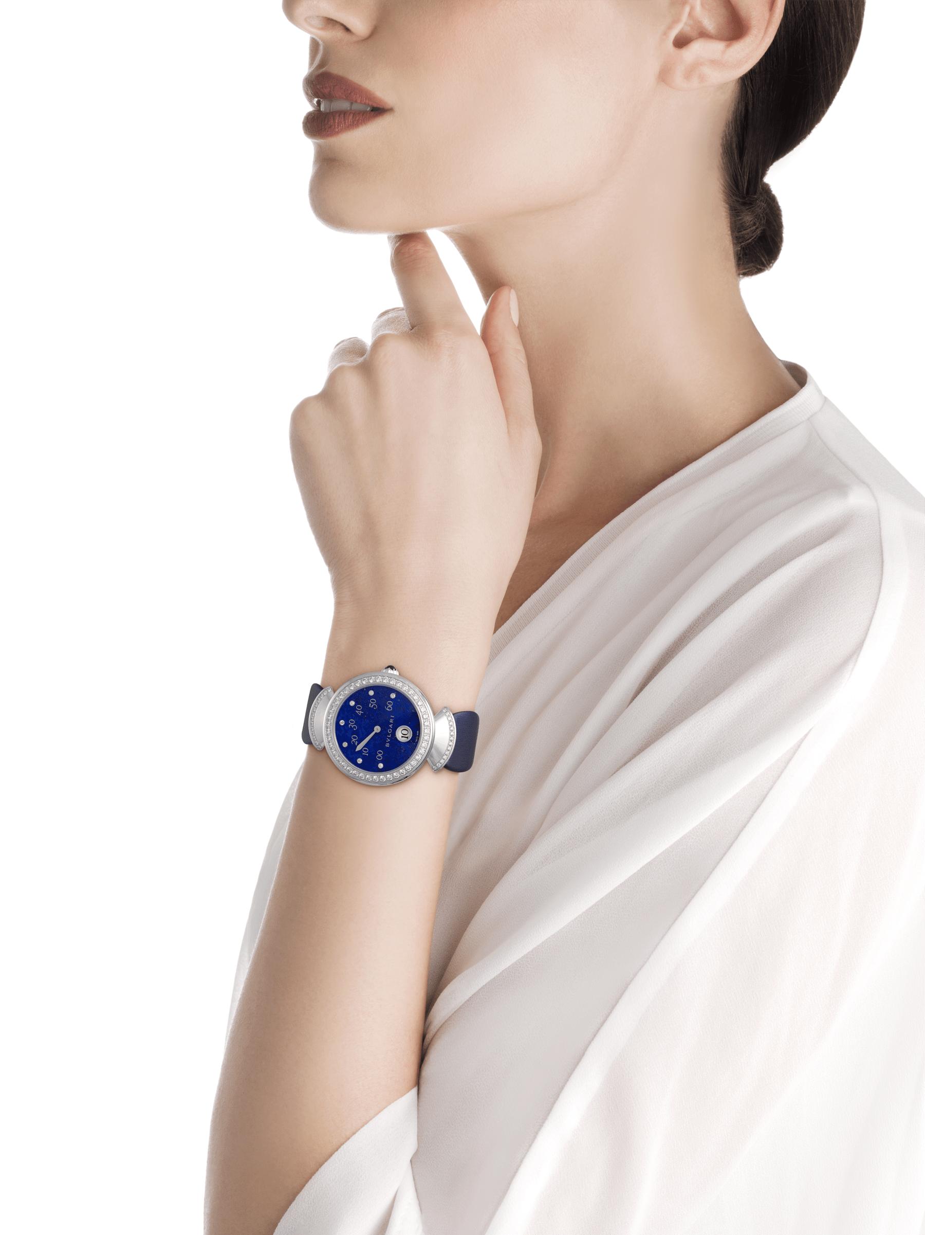 Reloj DIVAS' DREAM con movimiento mecánico de manufactura con horas saltantes, minutos retrógrados (180°) y carga automática. Caja en oro blanco de 18qt con diamantes talla brillante, esfera de lapislázuli con diamantes como índices y correa de raso azul. 102544 image 2