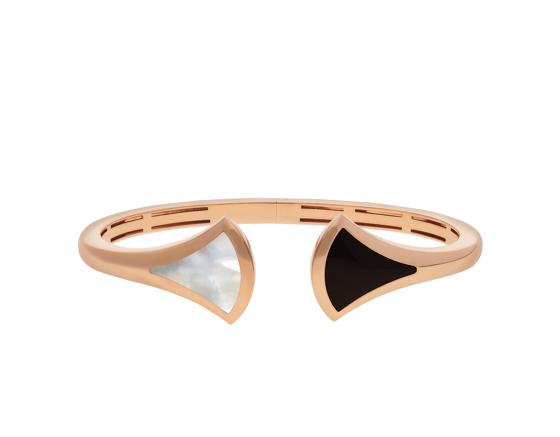 DIVAS' DREAM cuff bracelet in 18 kt rose gold, set with mother-of-pearl and onyx elements. BR857323 image 2