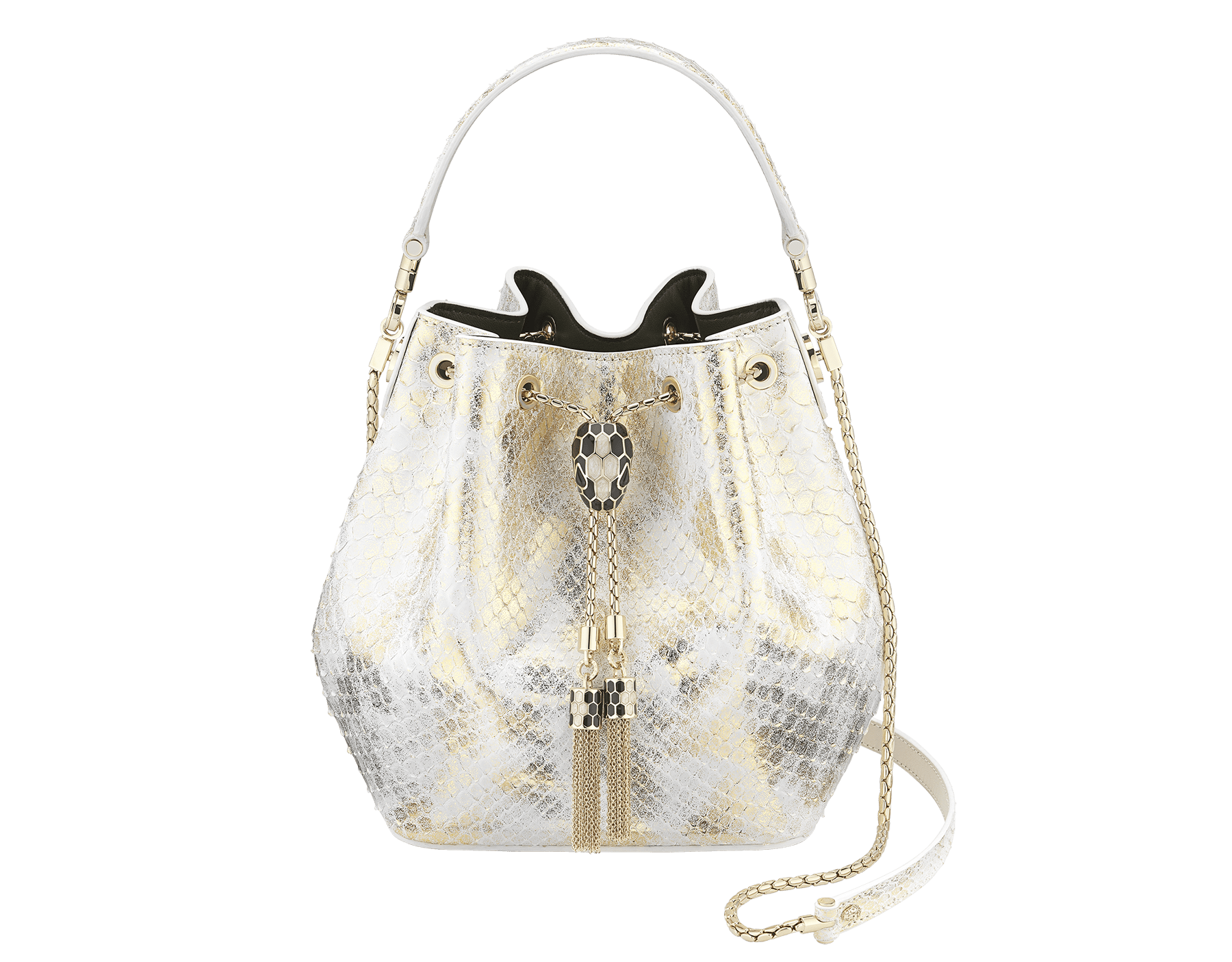 """Serpenti Forever"" bucket bag in agate-white ""Camo"" python skin with Mimetic Jade green nappa leather inner lining. Alluring snakehead closure in light gold-plated brass enriched with black and pearly, agate-white enamel and black onyx eyes. 289844 image 1"