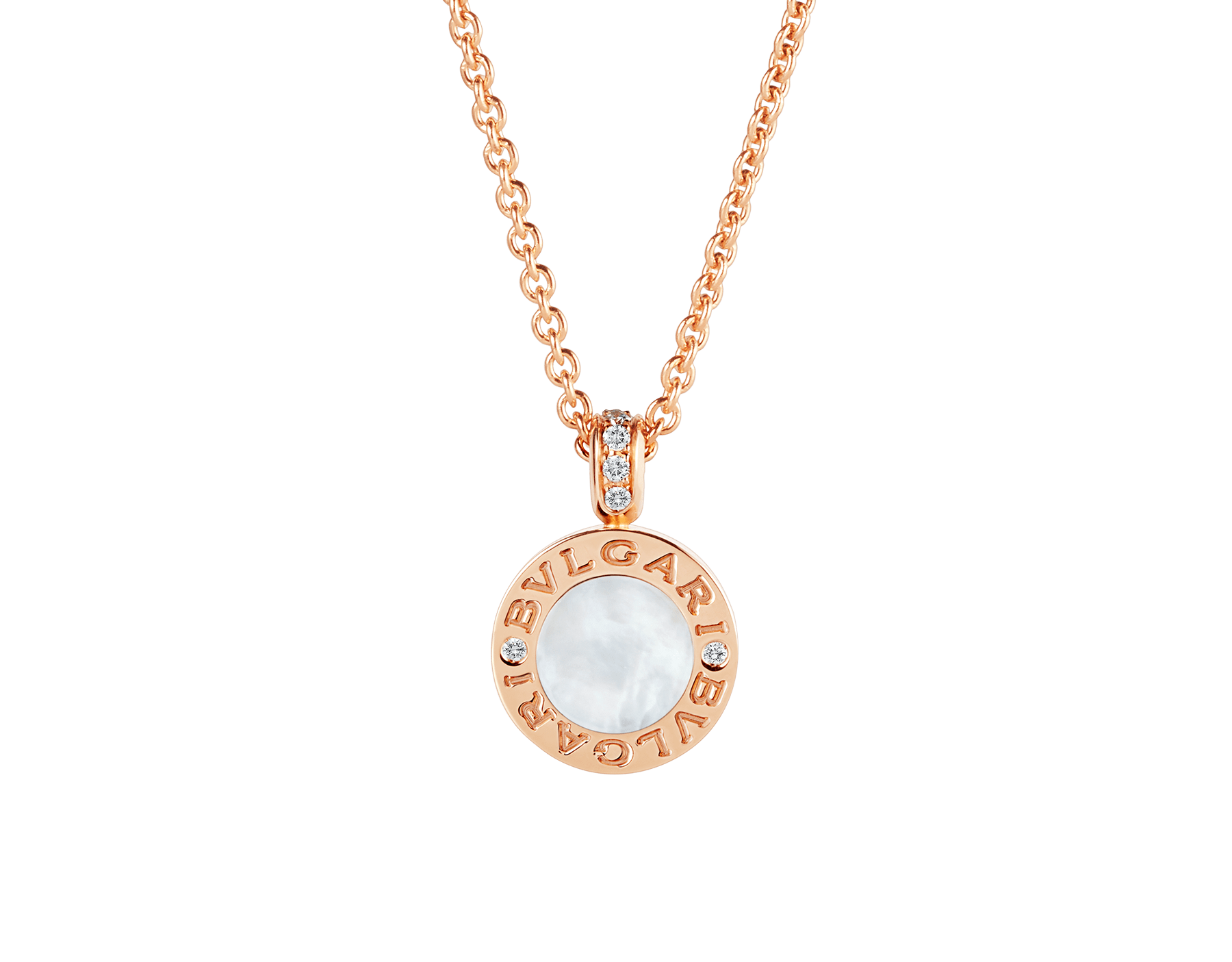 BVLGARI BVLGARI necklace with 18 kt rose gold chain and pendant, set with carnelian and mother-of-pearl discs and with details in pavé diamonds. 352883 image 4