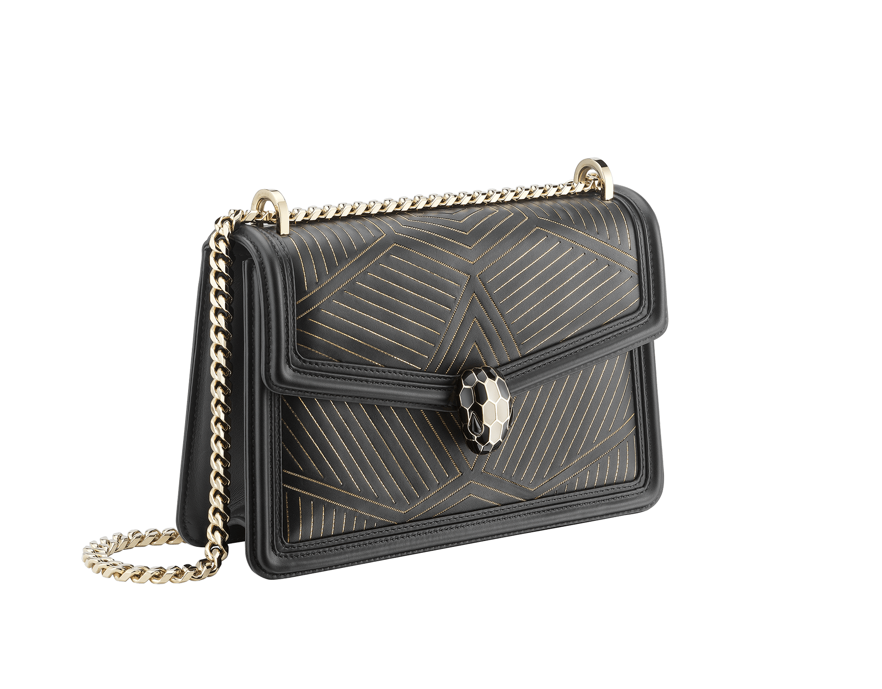 """Serpenti Diamond Blast"" shoulder bag in black smooth calf leather, featuring a Whispy Chain motif in light gold finishing. Iconic snake head closure in light gold plated brass enriched with black and white enamel and black onyx eyes. 288983 image 3"