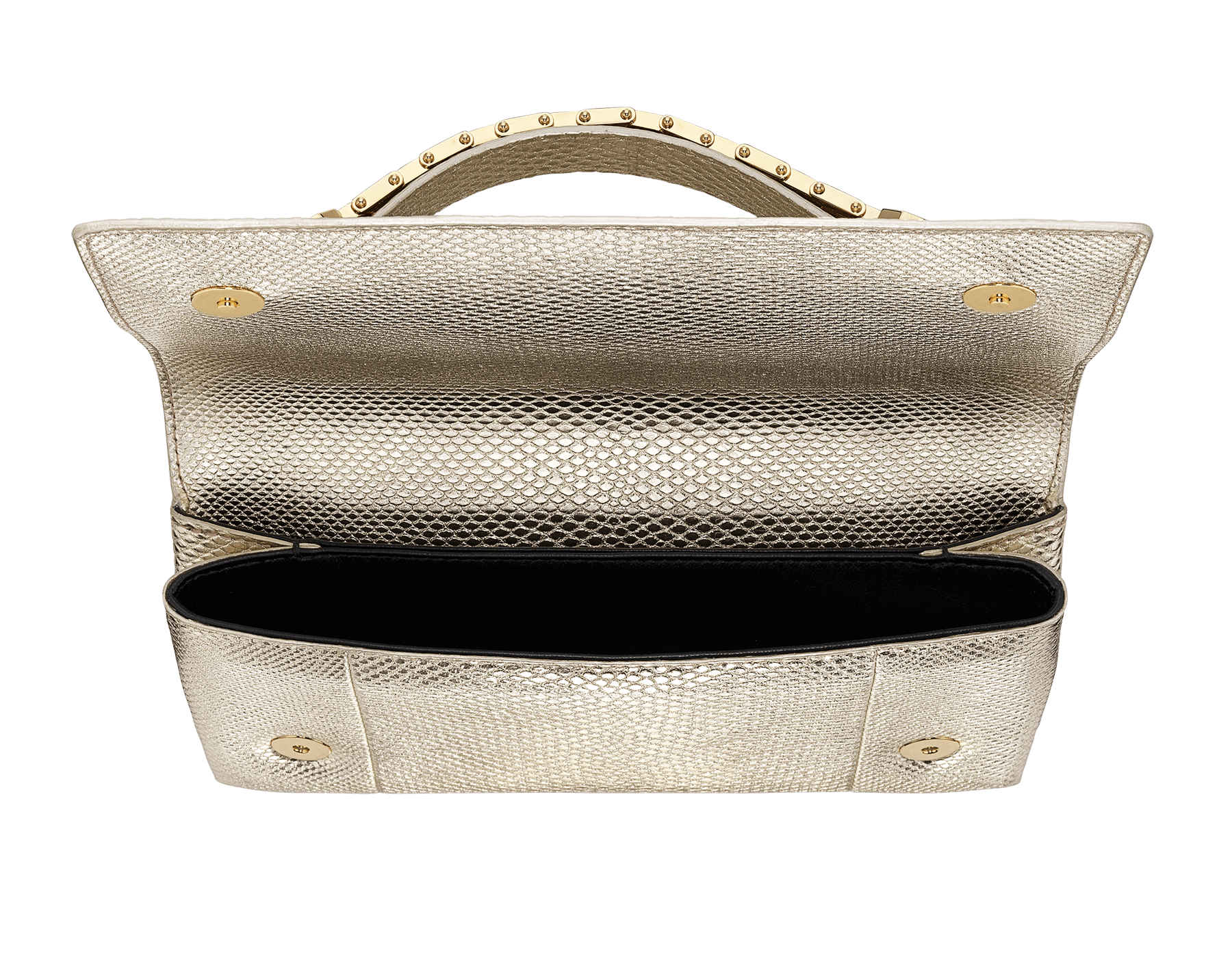 """Serpenti"" evening handle clutch bag in charcoal diamond metallic karung skin. Light gold Serpenti Seduttori handle. 526-HANDLECLUTCH image 4"