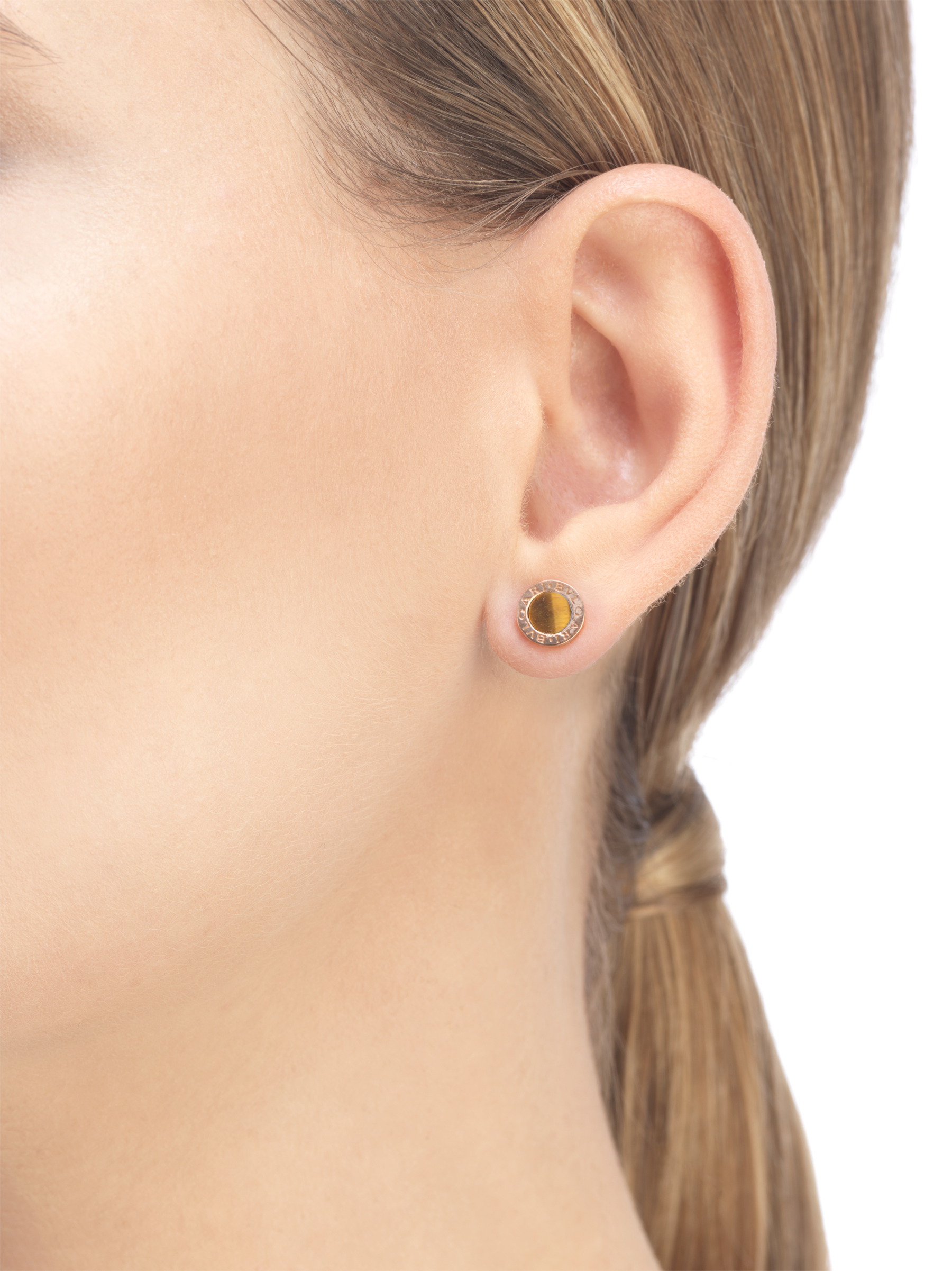 Boucle d'oreille unitaire BVLGARI BVLGARI en or rose 18K sertie d'un élément en œil-de-tigre 356364 image 3