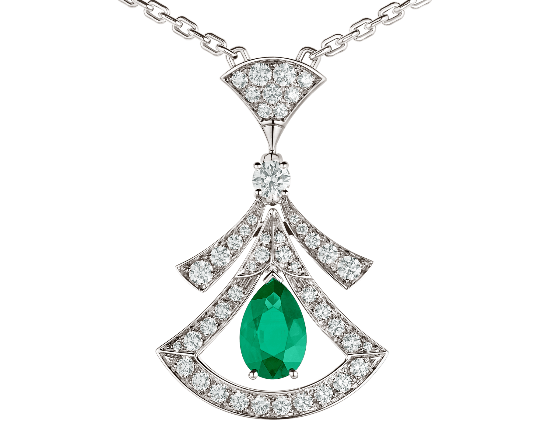 Collier ajouré DIVAS' DREAM en or blanc 18 K serti d'une émeraude taille poire (1,17 ct), émeraudes rondes taille brillant (0,60 ct), un diamant rond taille brillant et pavé diamants (0,86 ct) 356955 image 3