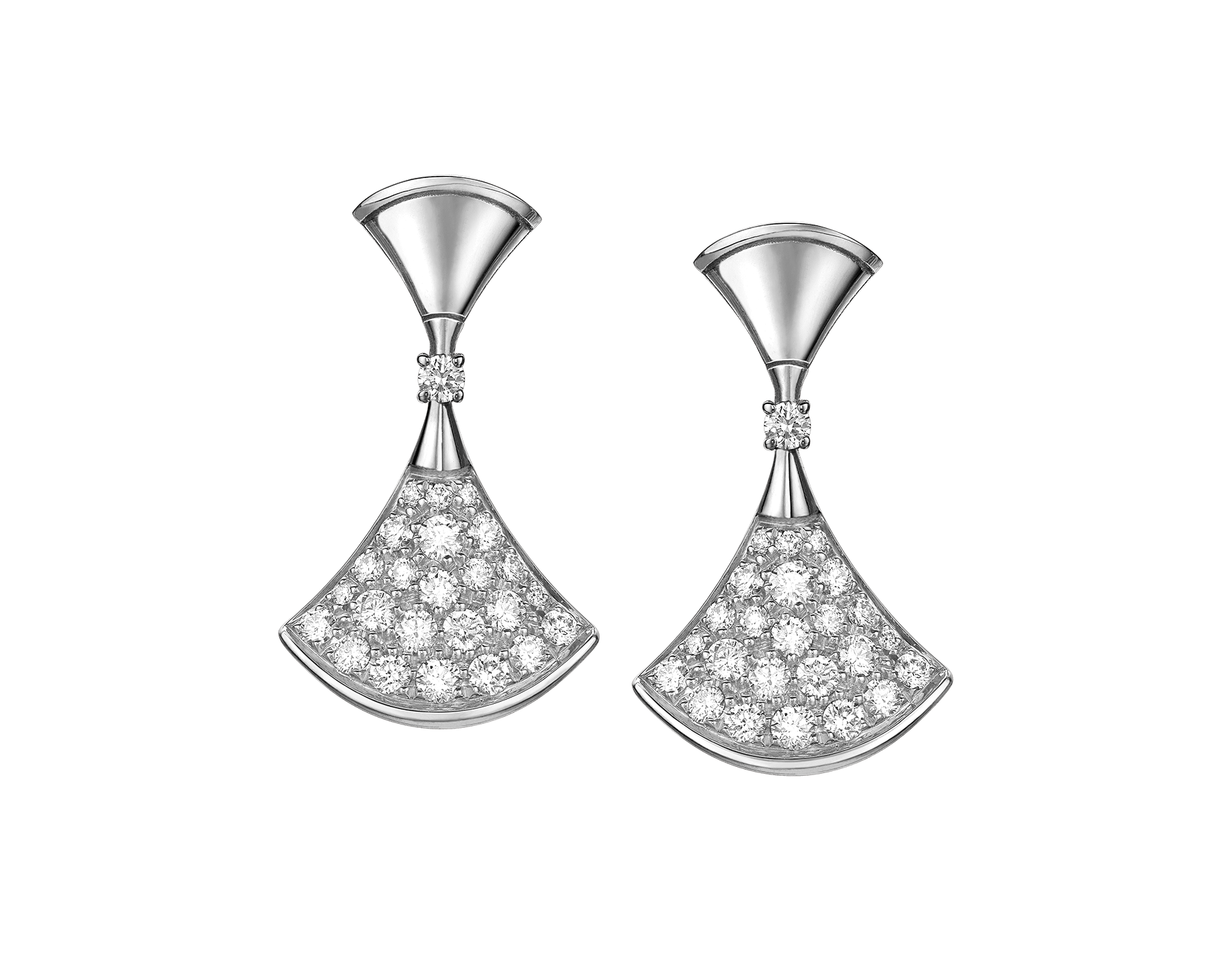 DIVAS' DREAM earrings in 18 kt white gold set with a diamond and pavé diamonds. 351100 image 1